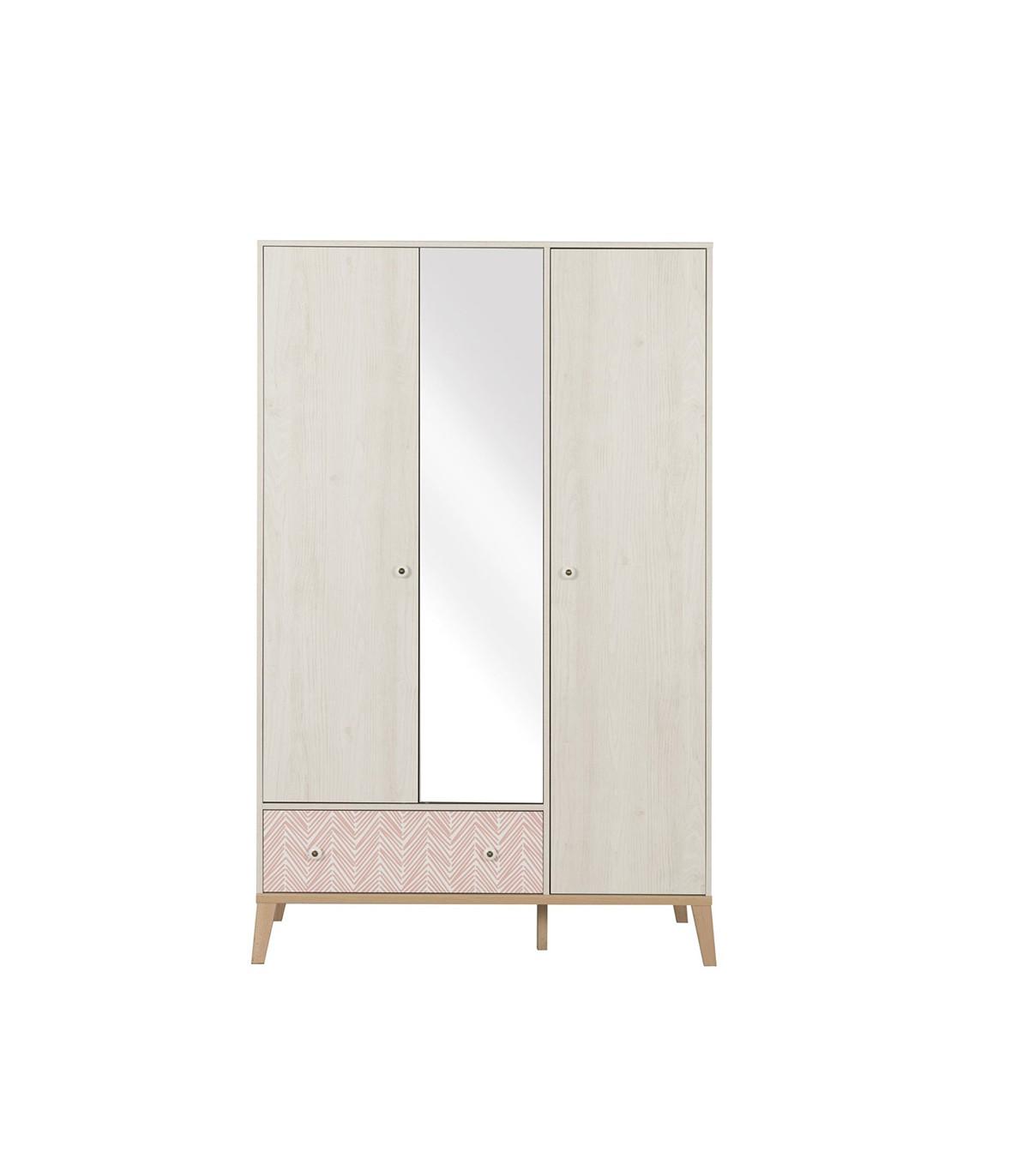Armoire 3 portes avec miroir et 1 tiroir - Beige