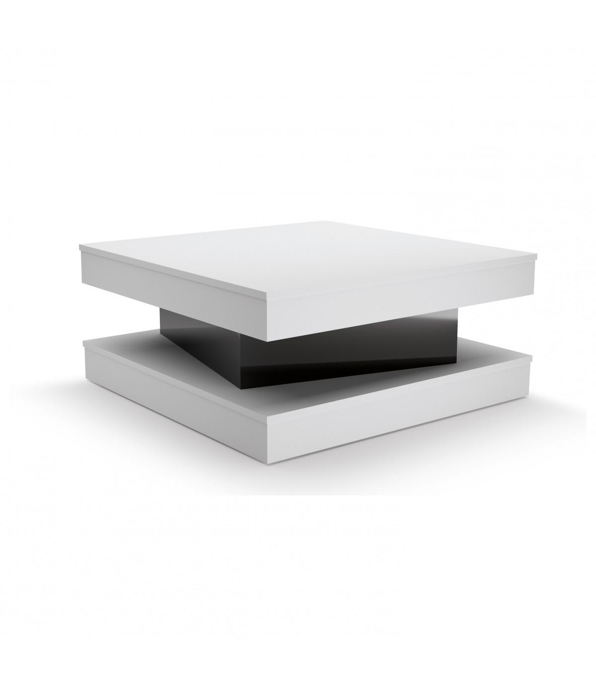 Table basse avec tiroir coulissant - Blanc et noir