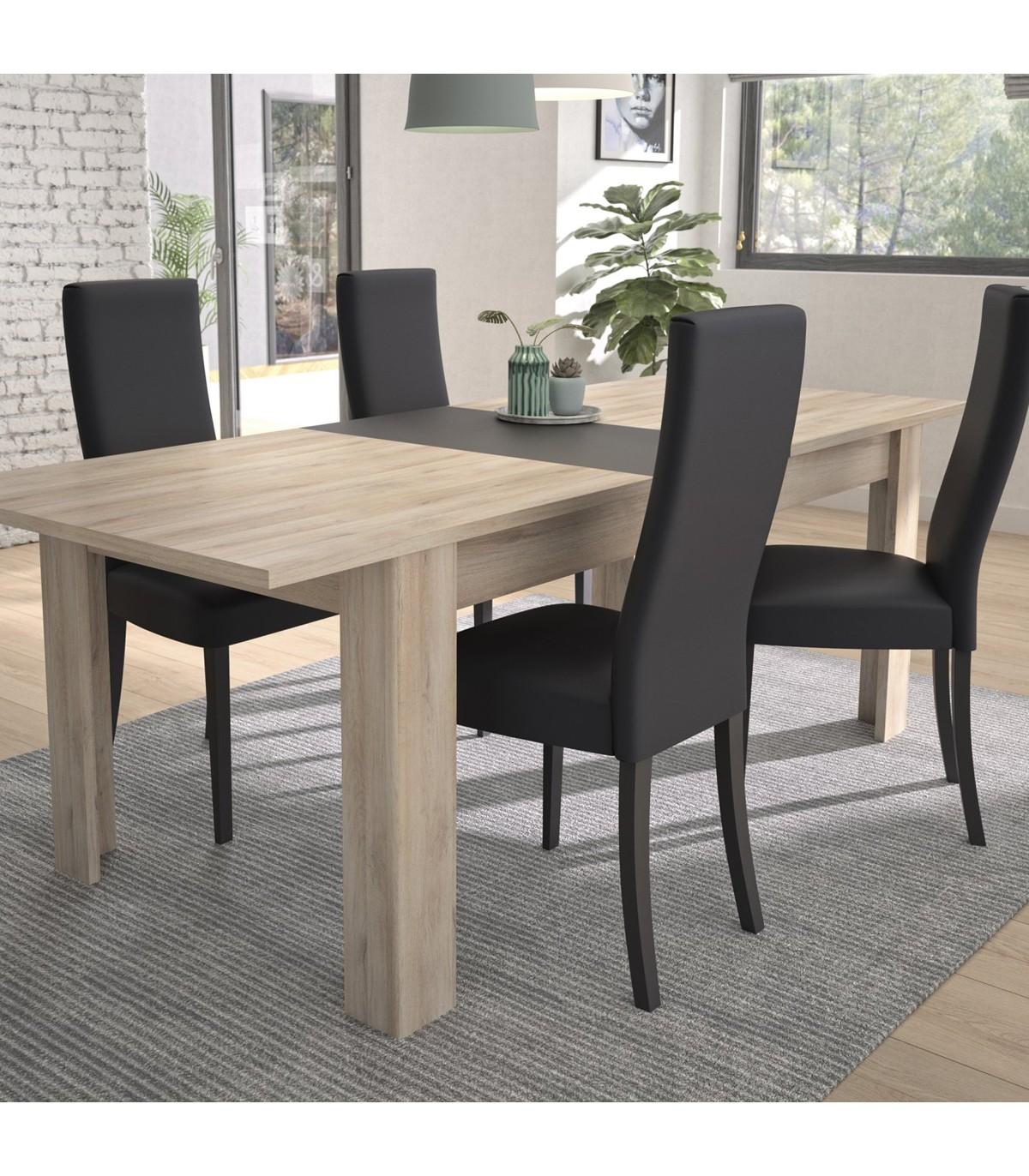 Table à manger extensible - Effet Chêne clair - L228cm - 8pers