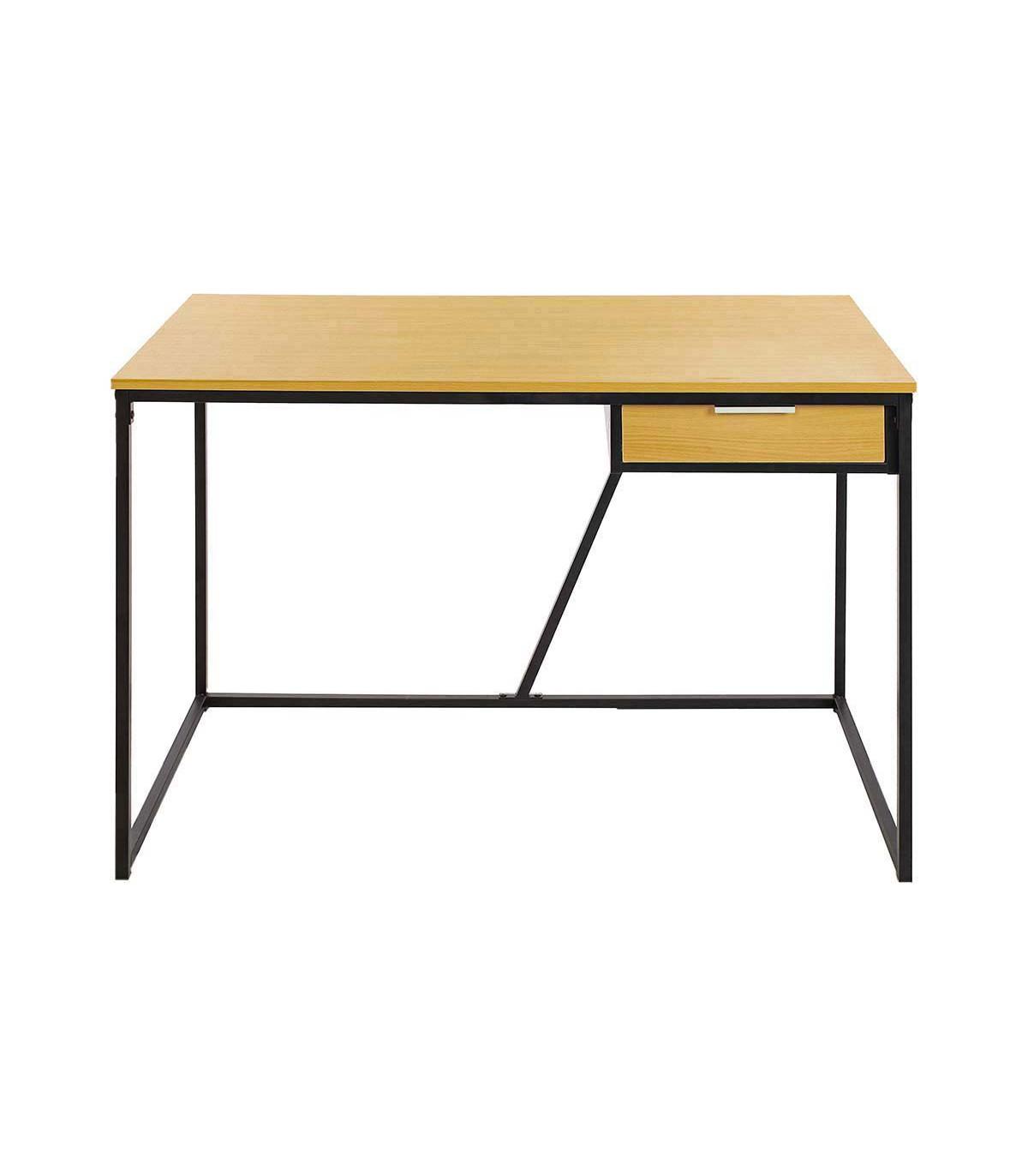 Bureau en bois et pieds en métal noir - Marron clair