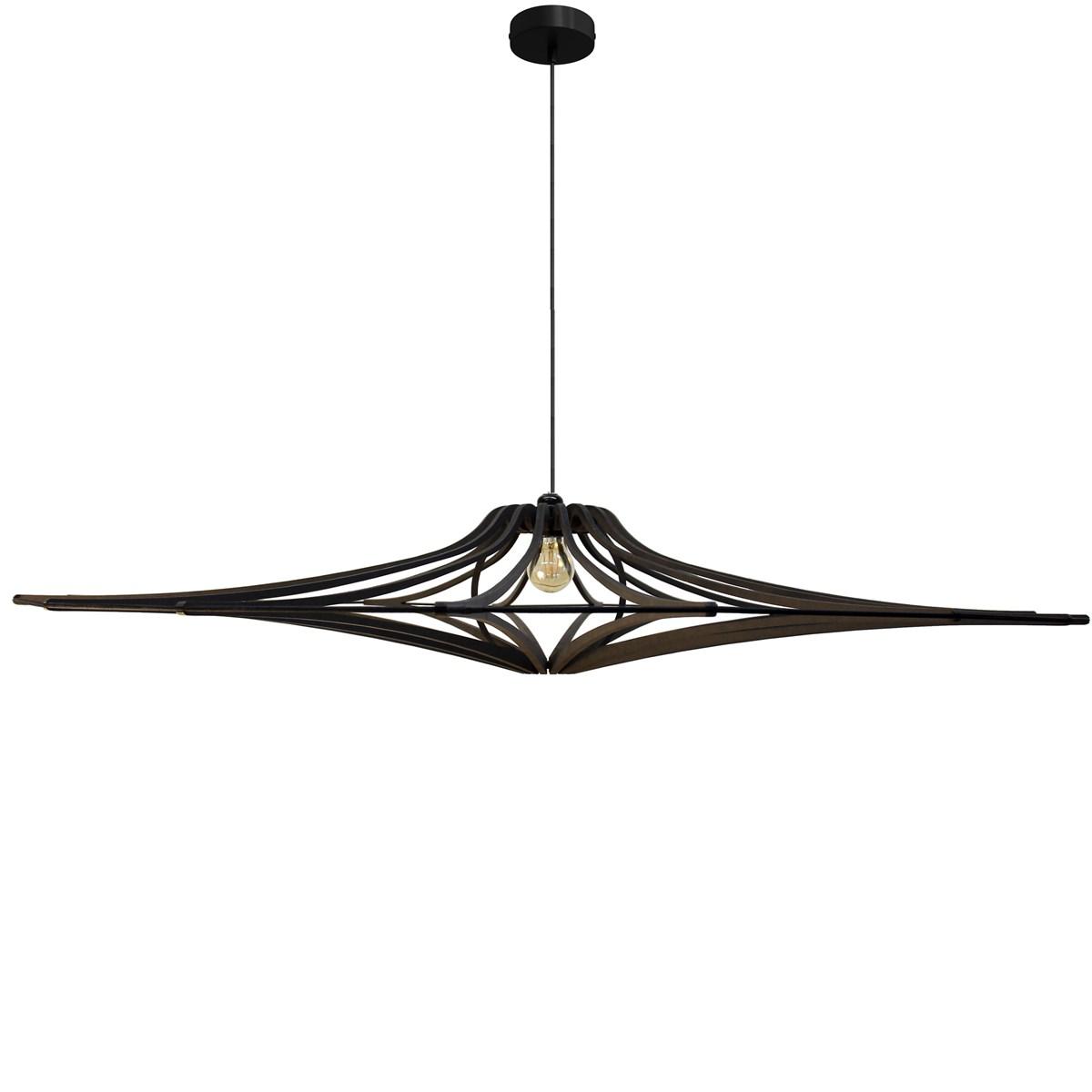 Suspension bois design noir mat D124cm