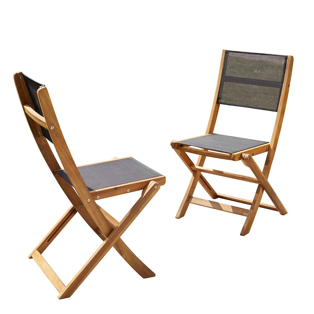 2 chaises pliantes en acacia et textilène noir