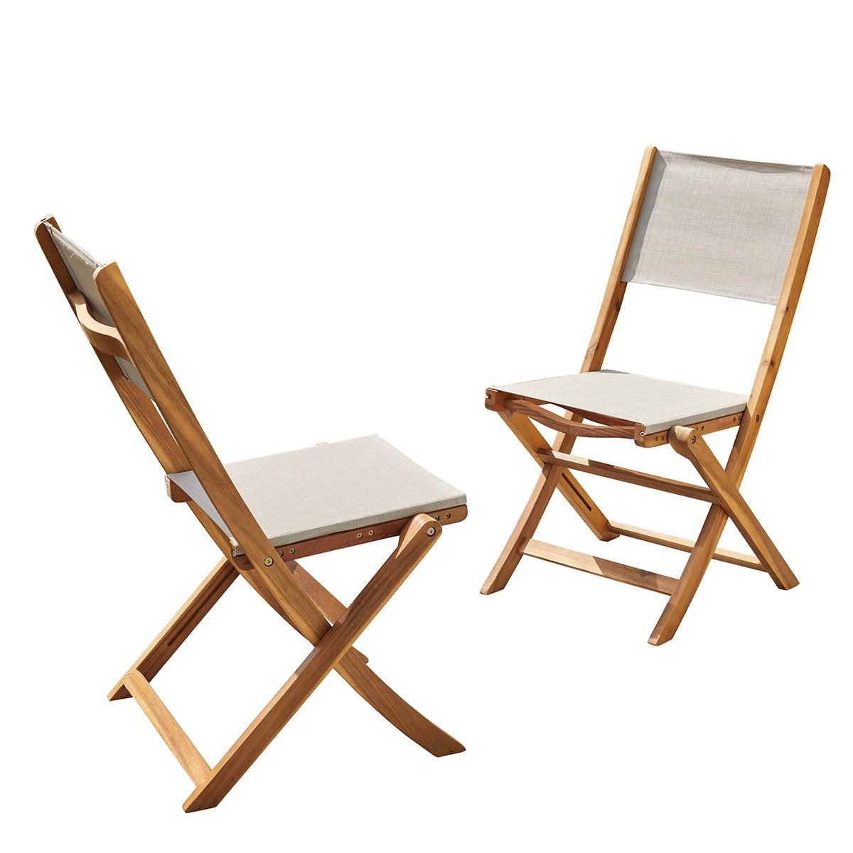 2 chaises pliantes en bois d'acacia et textilène