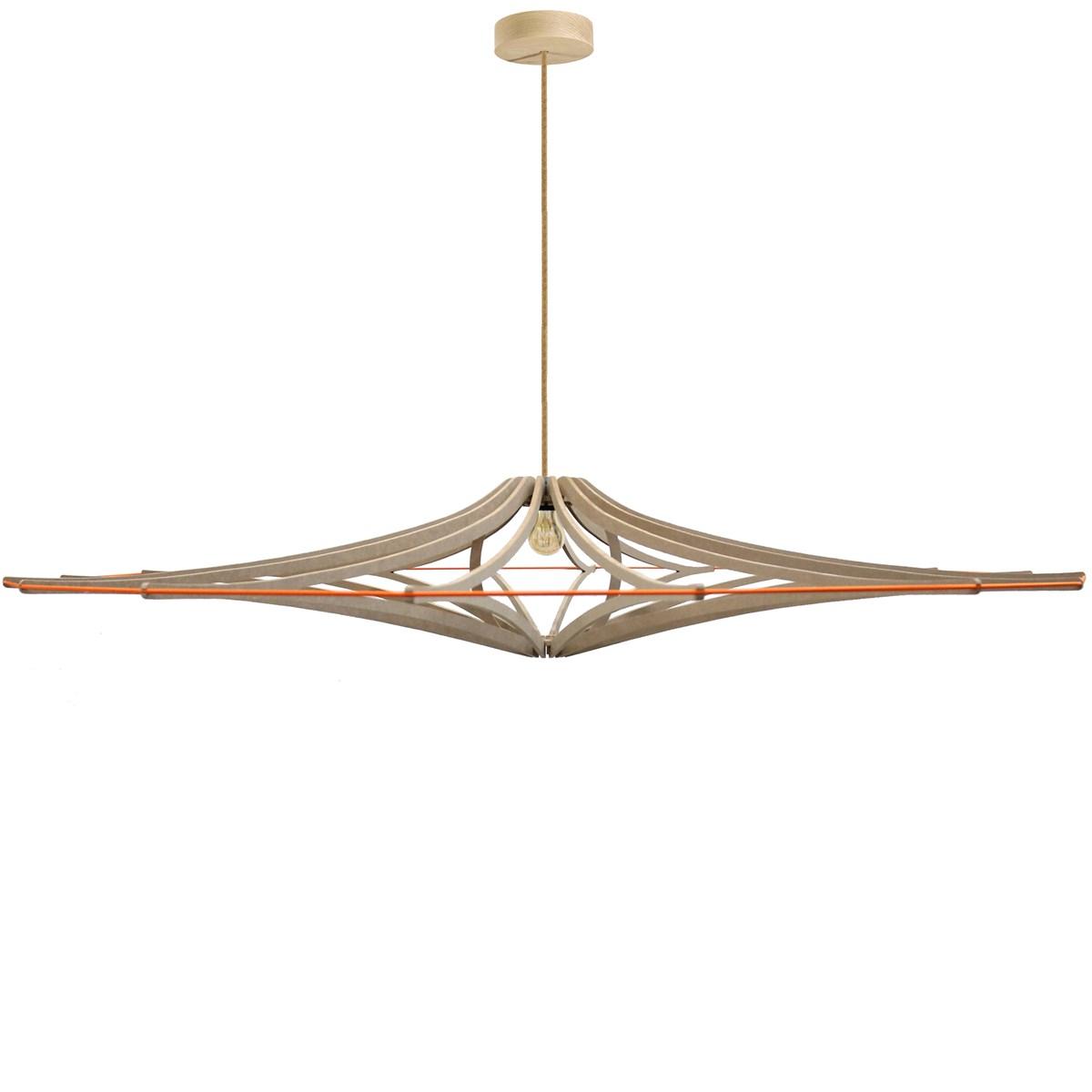 Suspension bois design orange D180cm