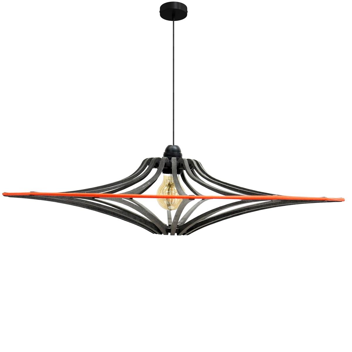 Suspension bois design noir orange D90cm