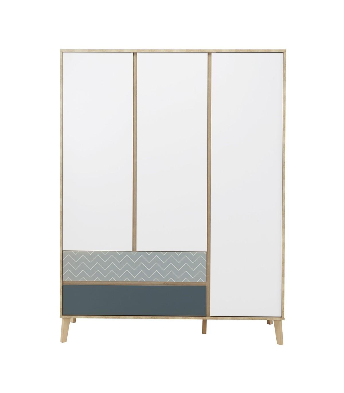 Armoire 3 portes 2 tiroirs Enfant Blanc et bleu 153x200