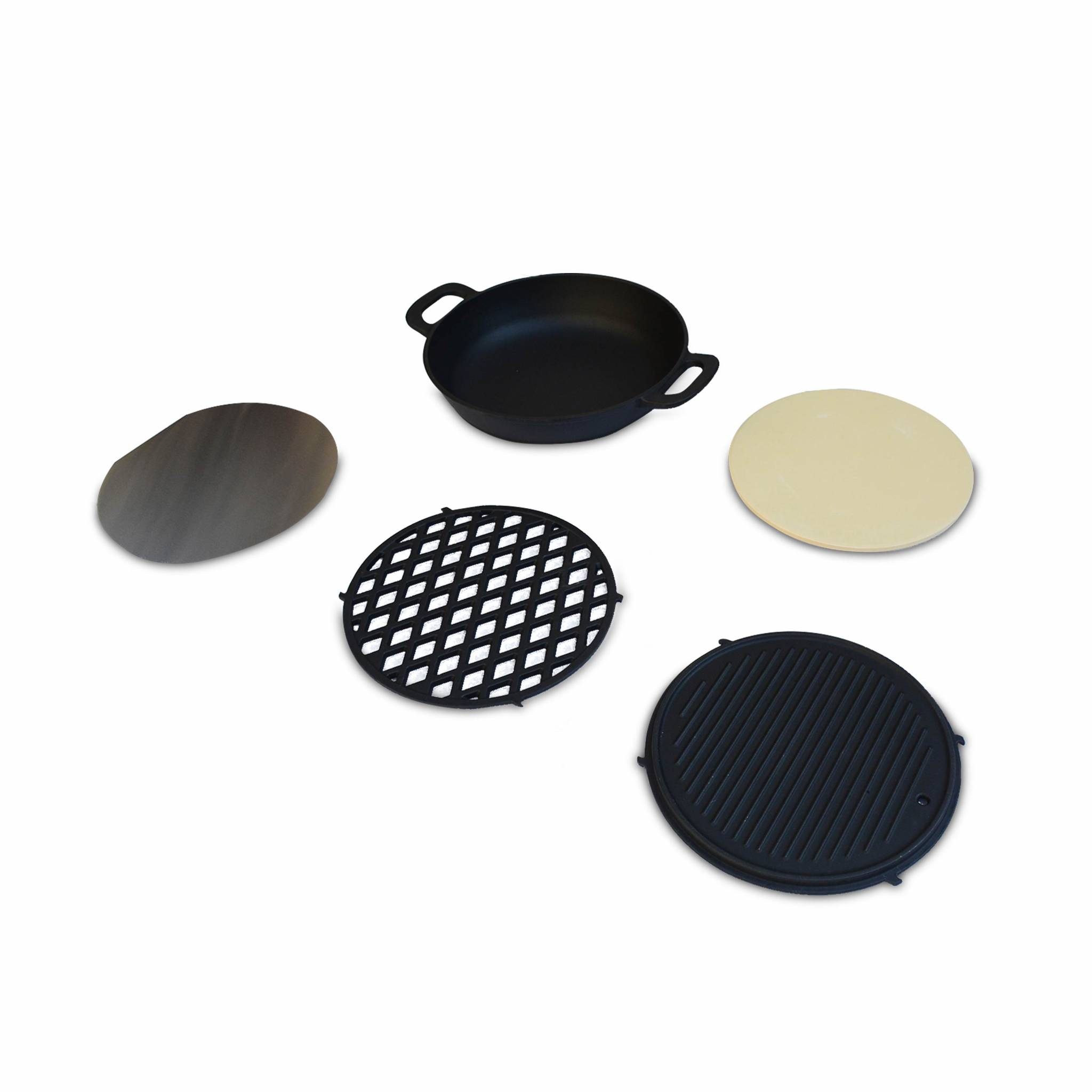 Ensemble de cuisson pour barbecue  au charbon – wok grille plaque