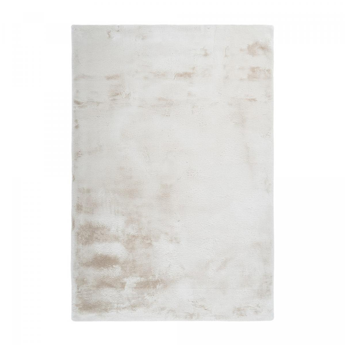 Tapis shaggy poils long en polyester crème 60x110