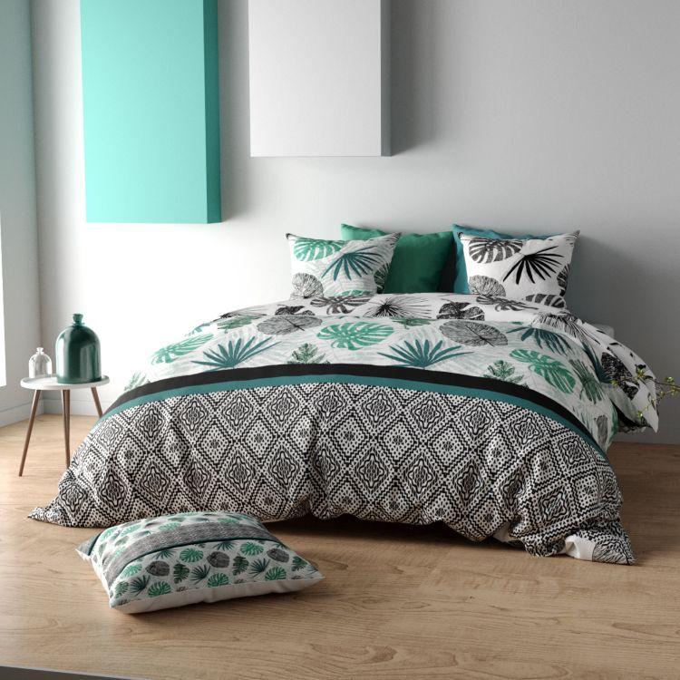 Parure de lit en coton vert 260x240 + 2 to 65x65