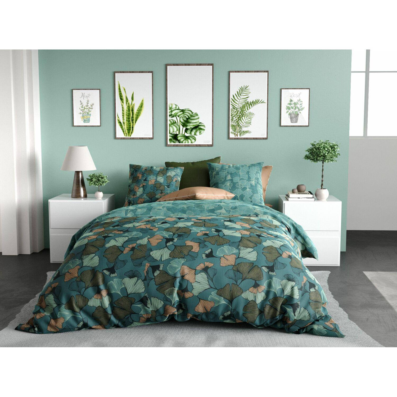 Parure de lit en percale vert 200x200 + 2 to 65x65