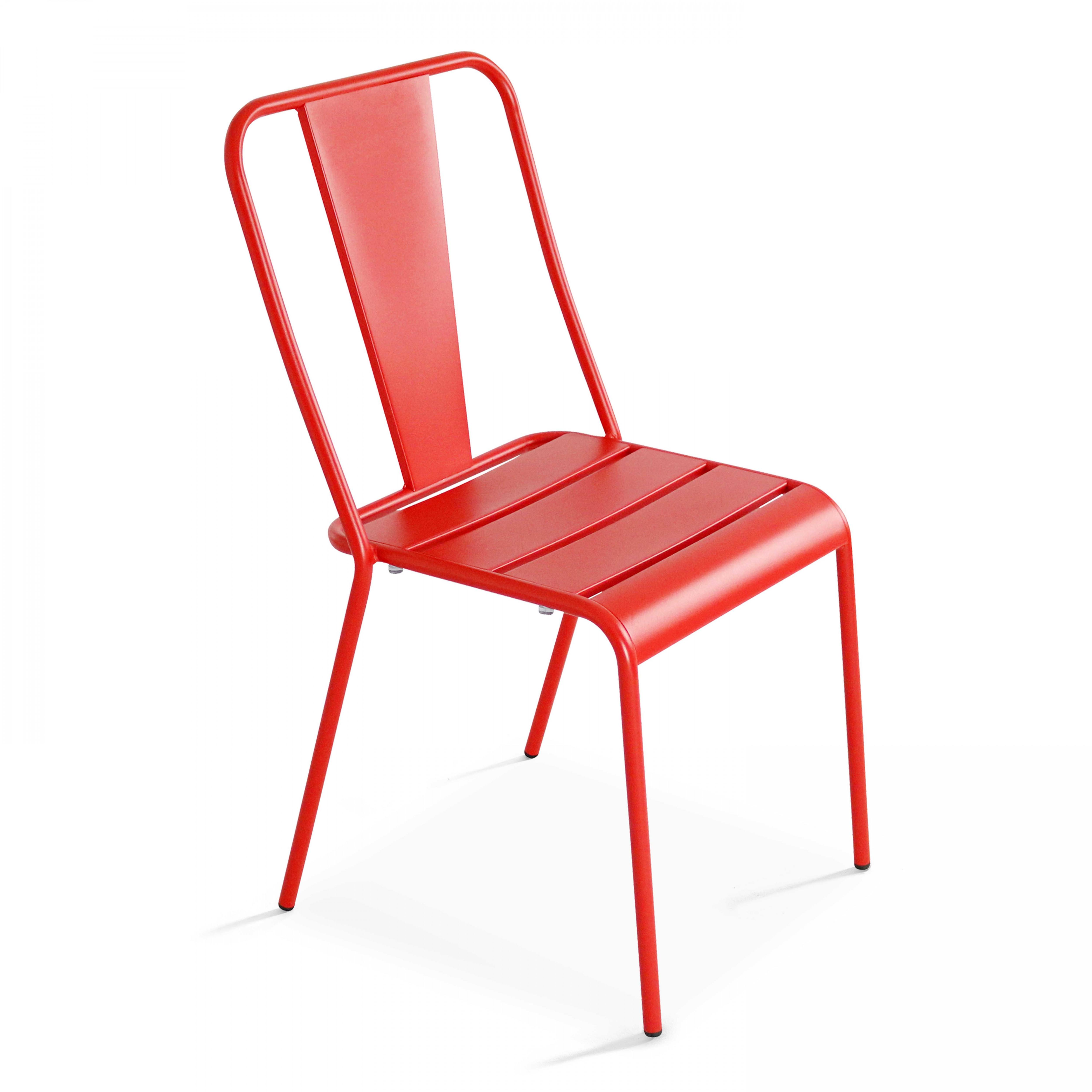 Chaise de jardin bistrot 1 place en acier rouge