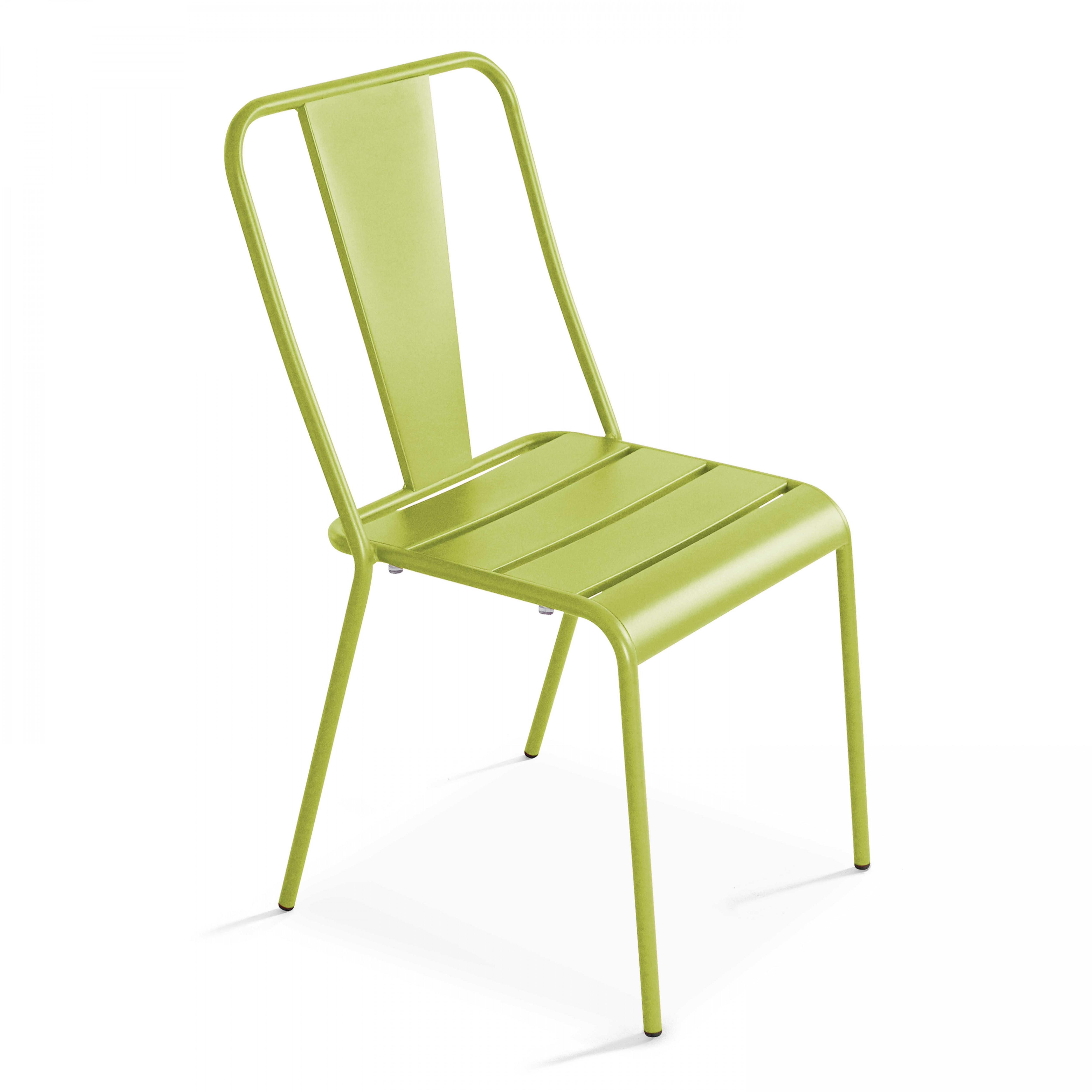 Chaise de jardin bistrot 1 place en acier vert