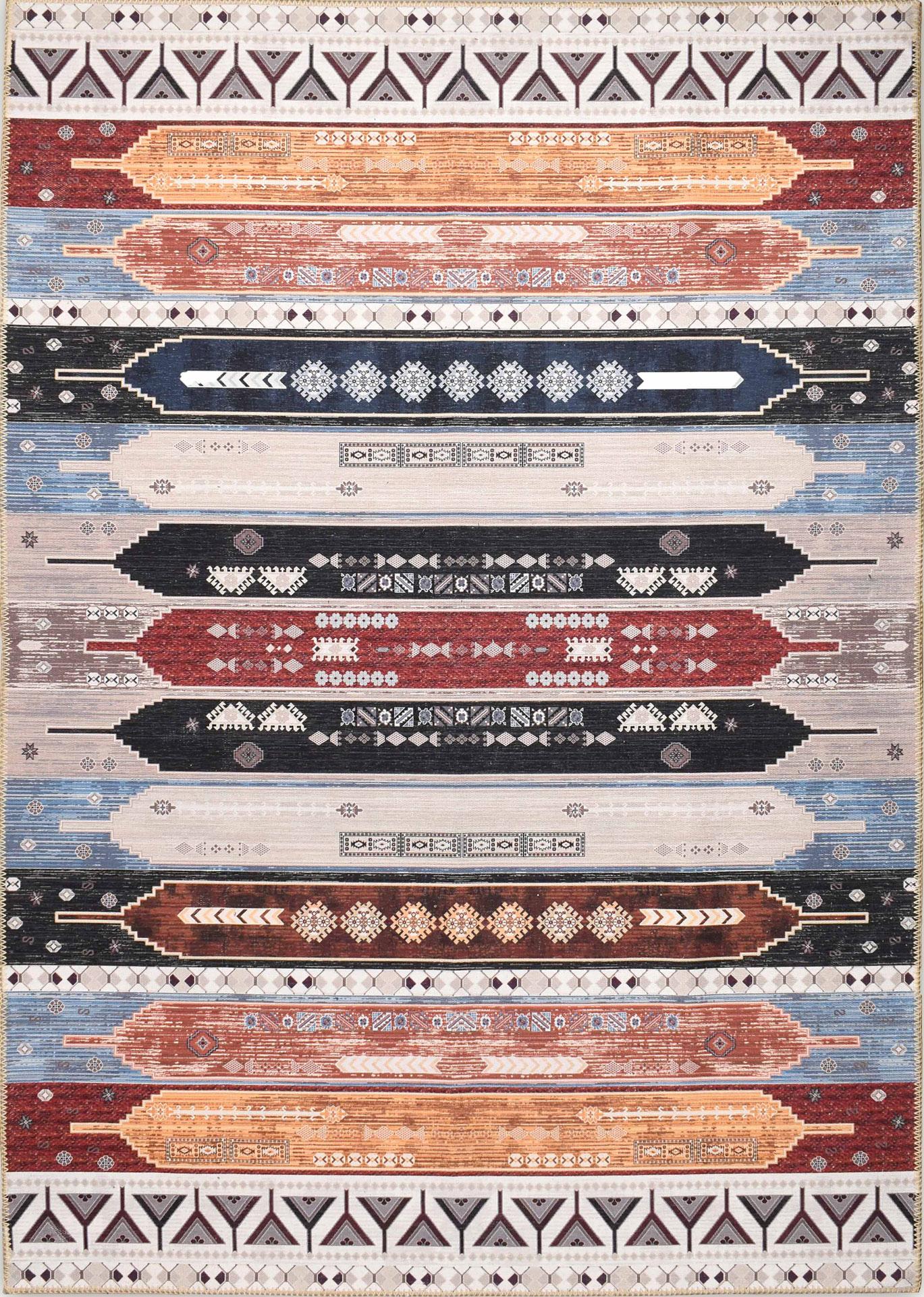 Tapis vintage lavable en machine multicolore 120x170