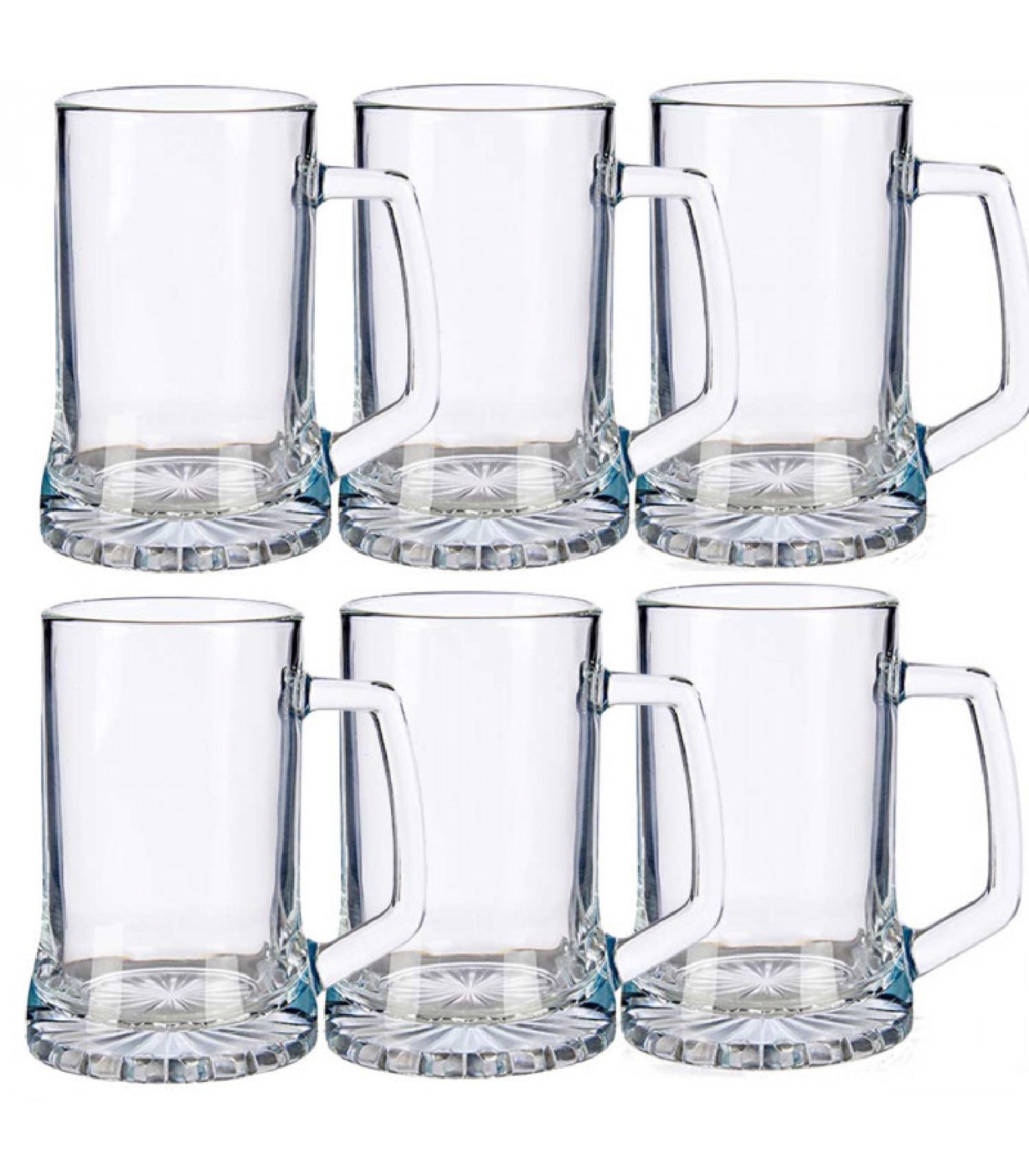 Chopes à bière en verre avec poignées 380ml - Lot de 6