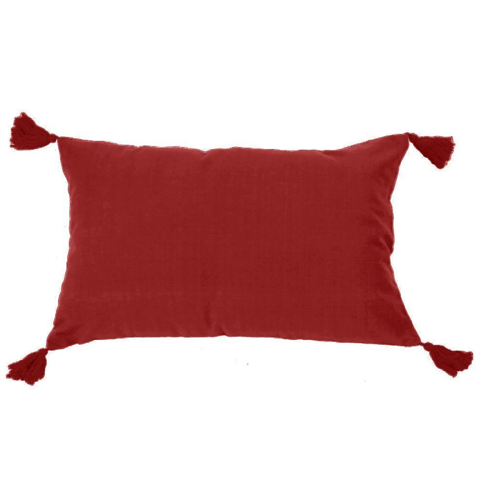 Housse de coussin à pompons non garnie rouge 60x40
