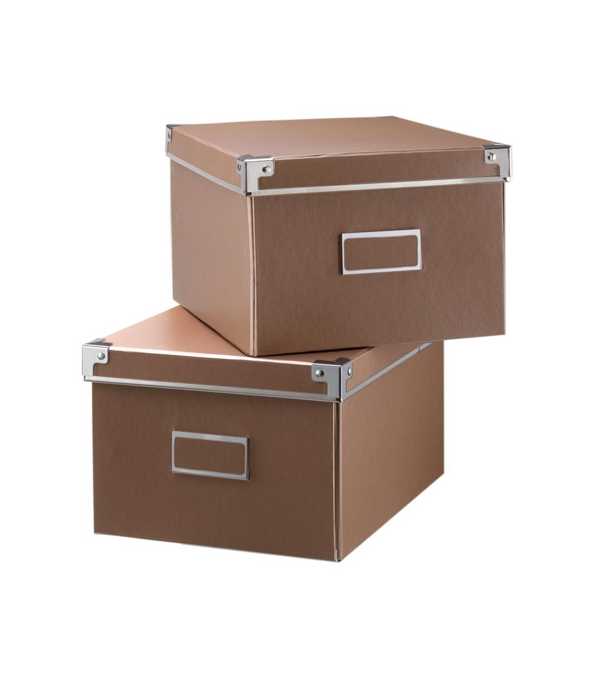 Lot de 2 boîtes de rangement - 26 x 21 x H15cm - Cuivre