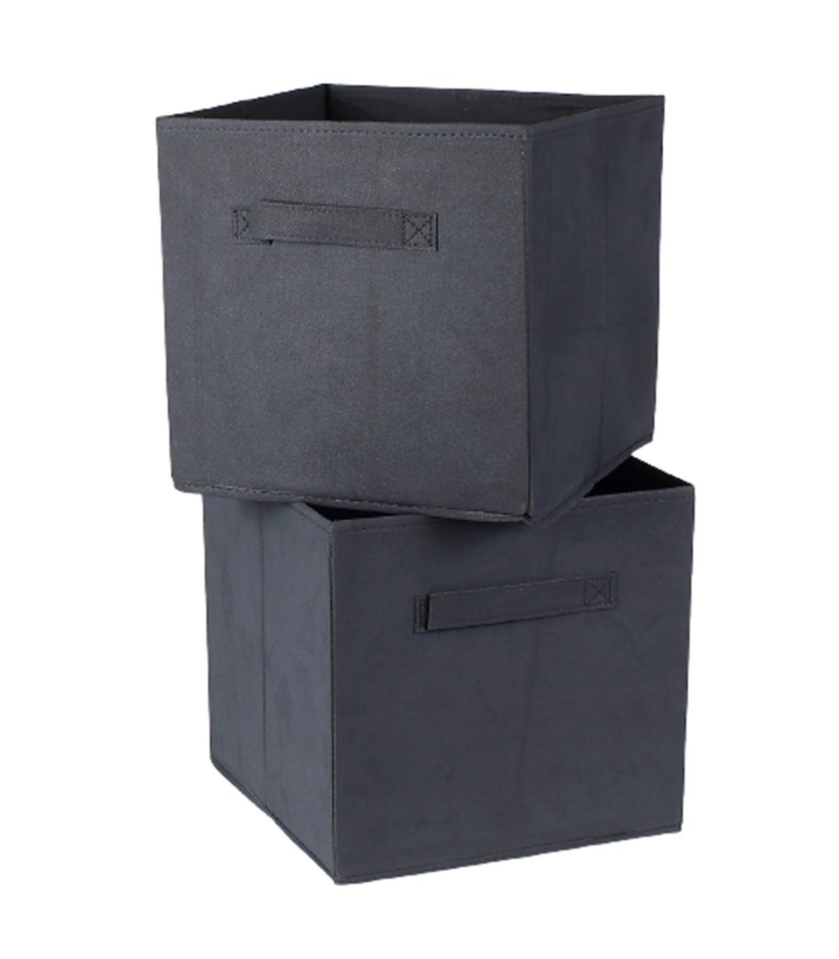 Cube de rangement intissé 28 cm - Lot de 2 - Gris