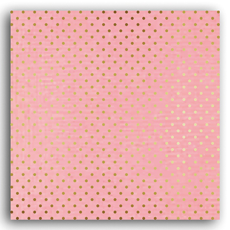 Papier scrapbooking Mahé Rose Pois Or 30,5x30,5 cm