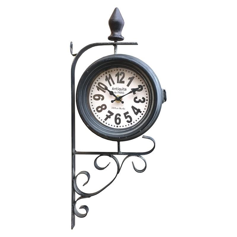 Horloge de gare double face en fer