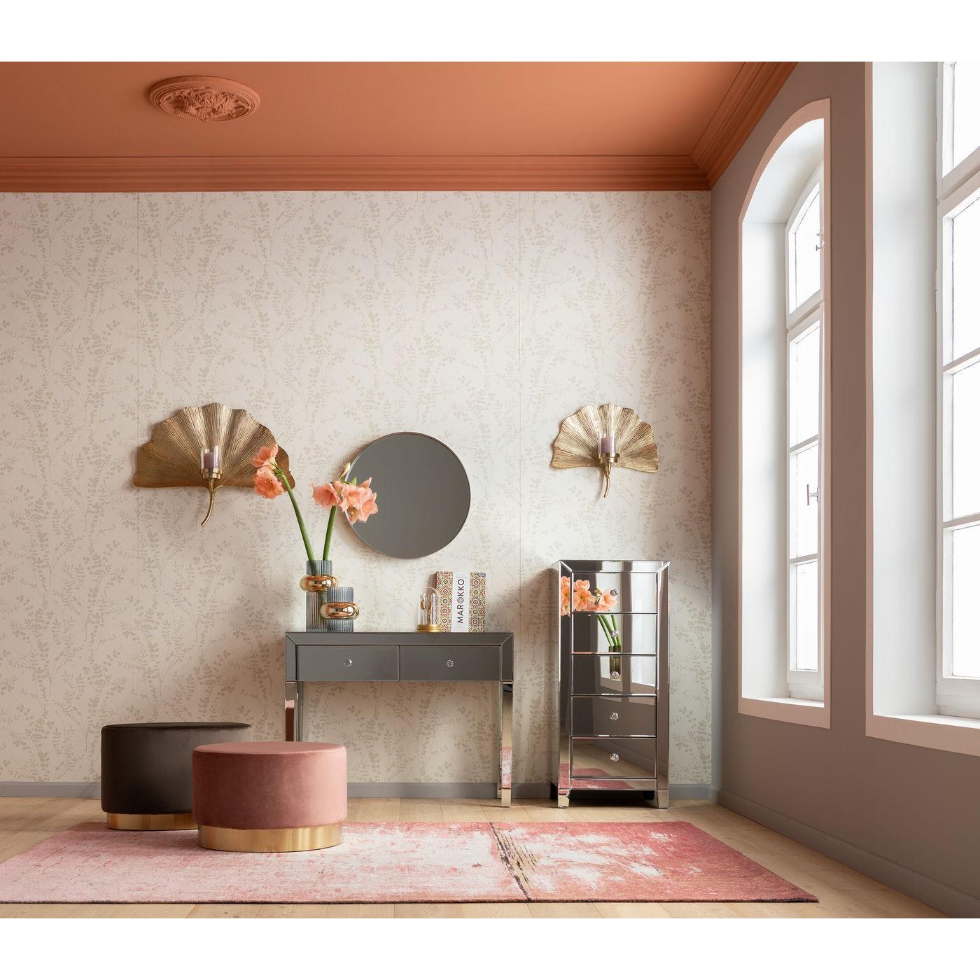 Tabouret en velours rose et acier doré D55
