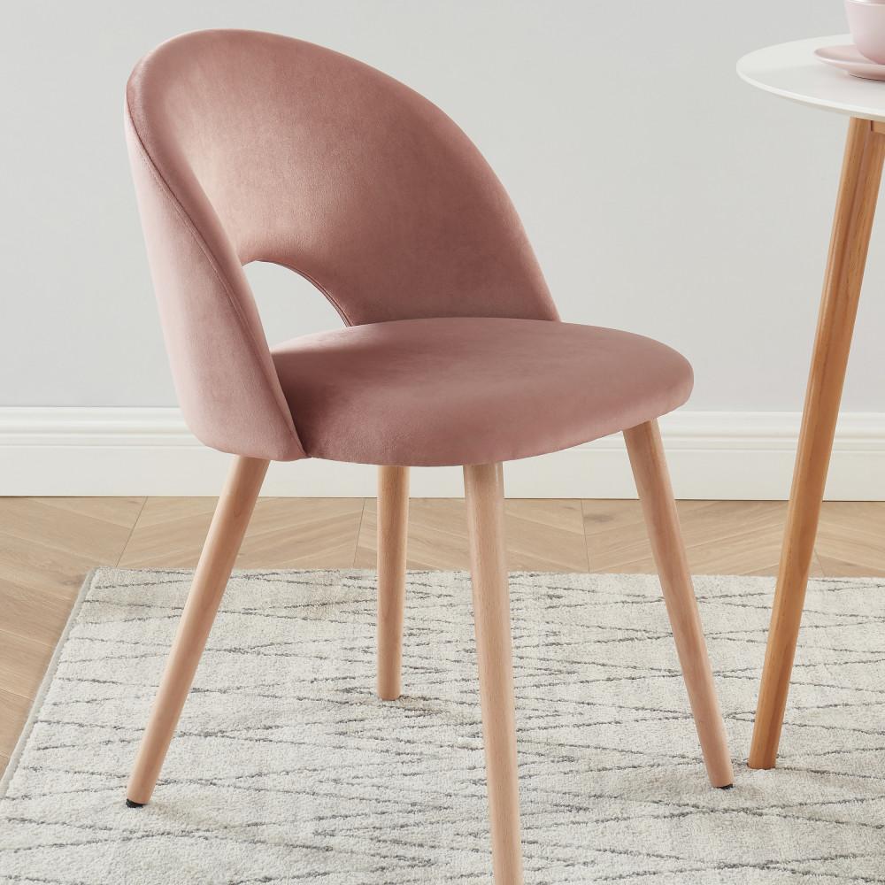 2 chaises en velours vieux rose