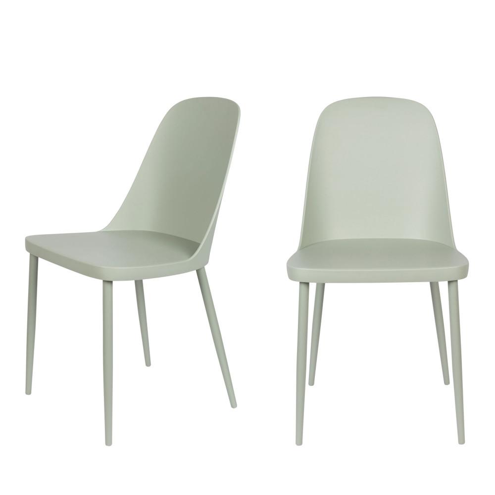 2 chaises en résine et métal vert d'eau