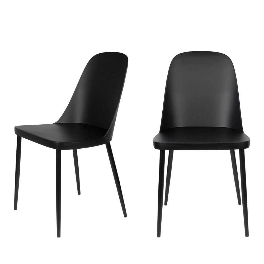 2 chaises en résine et métal noir