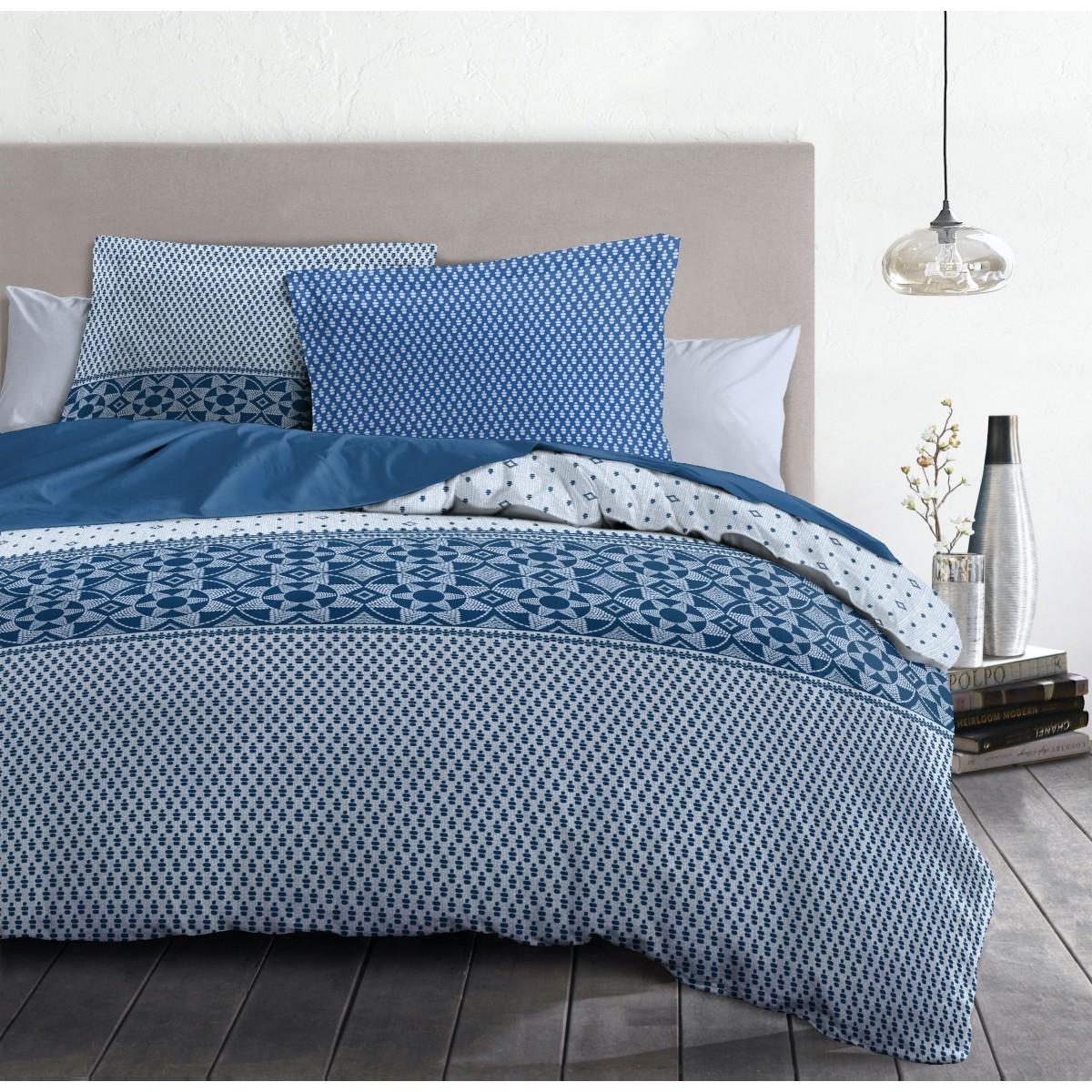 Parure de Couette 100% Coton Bleu 220x240cm