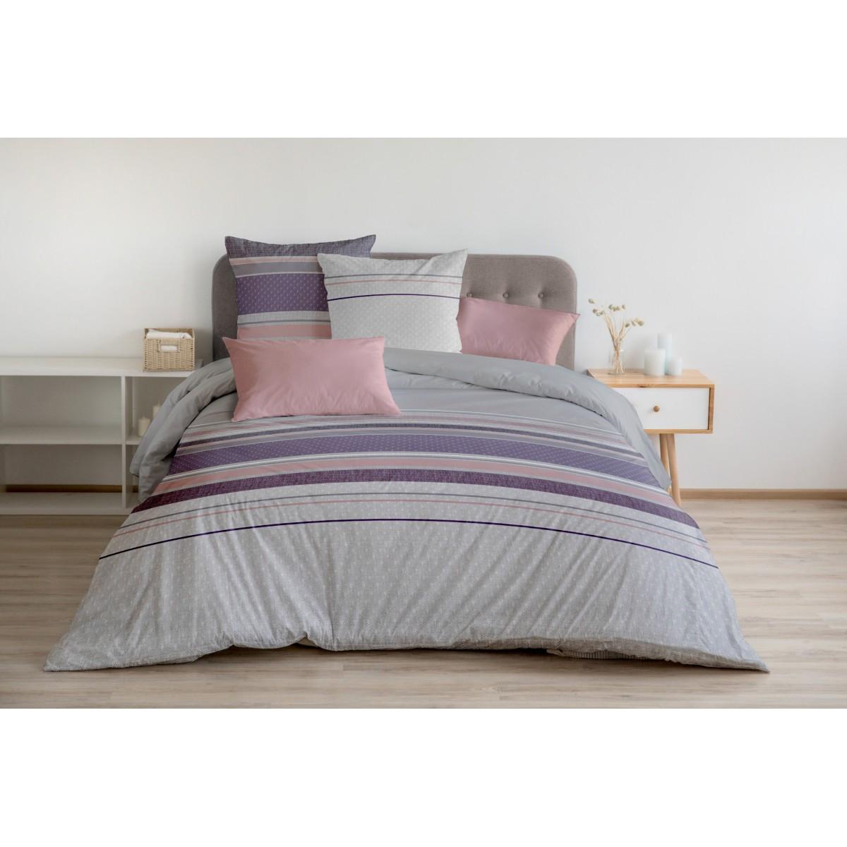 Parure de Couette 100% Coton Violet 220x240cm