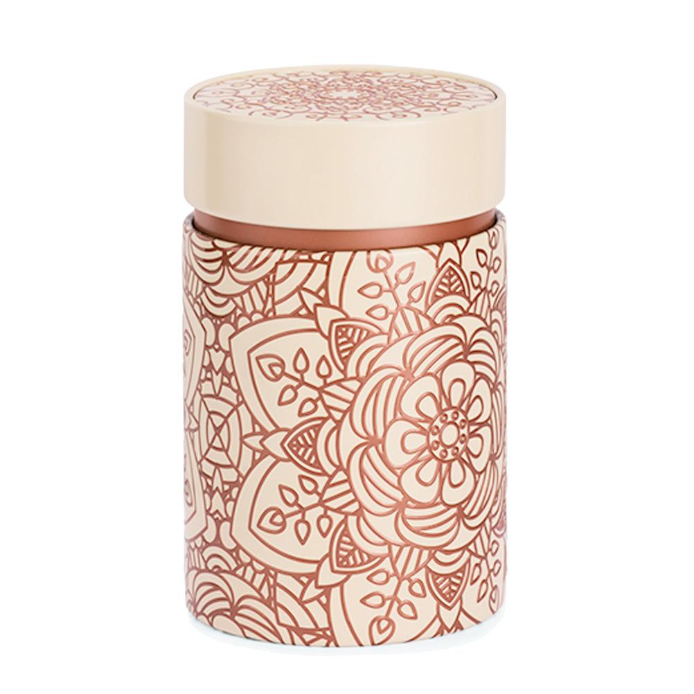 Petite boite fond beige pour le thé contenance 150g