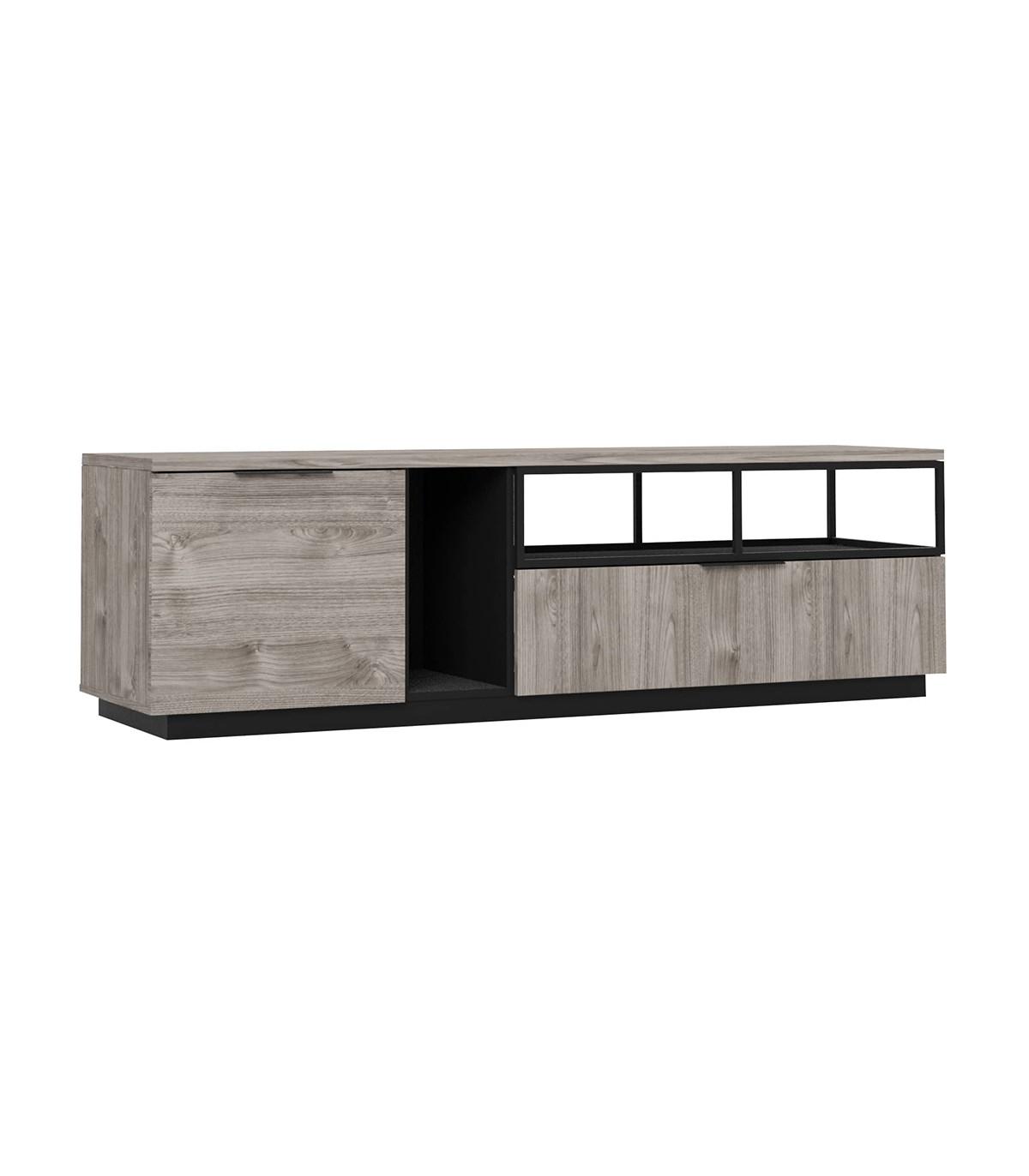 Meuble TV Hifi 1 porte 1 tiroir avec niches de rangements - Marron