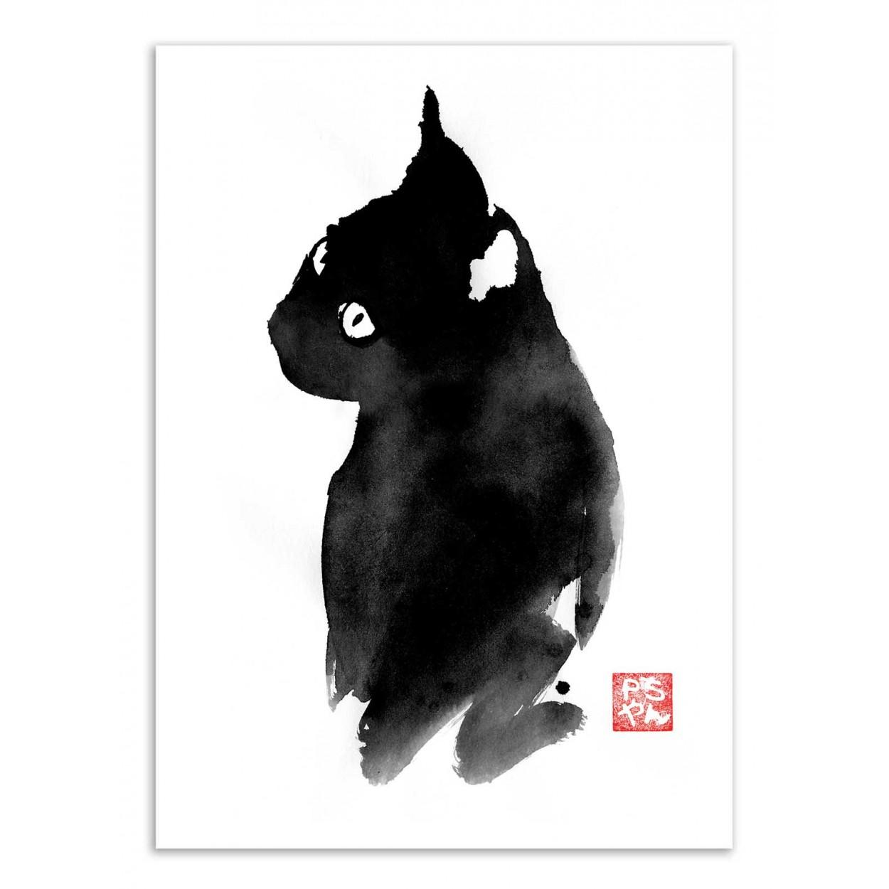 BLACK CAT -  Affiche d'art 50 x 70 cm