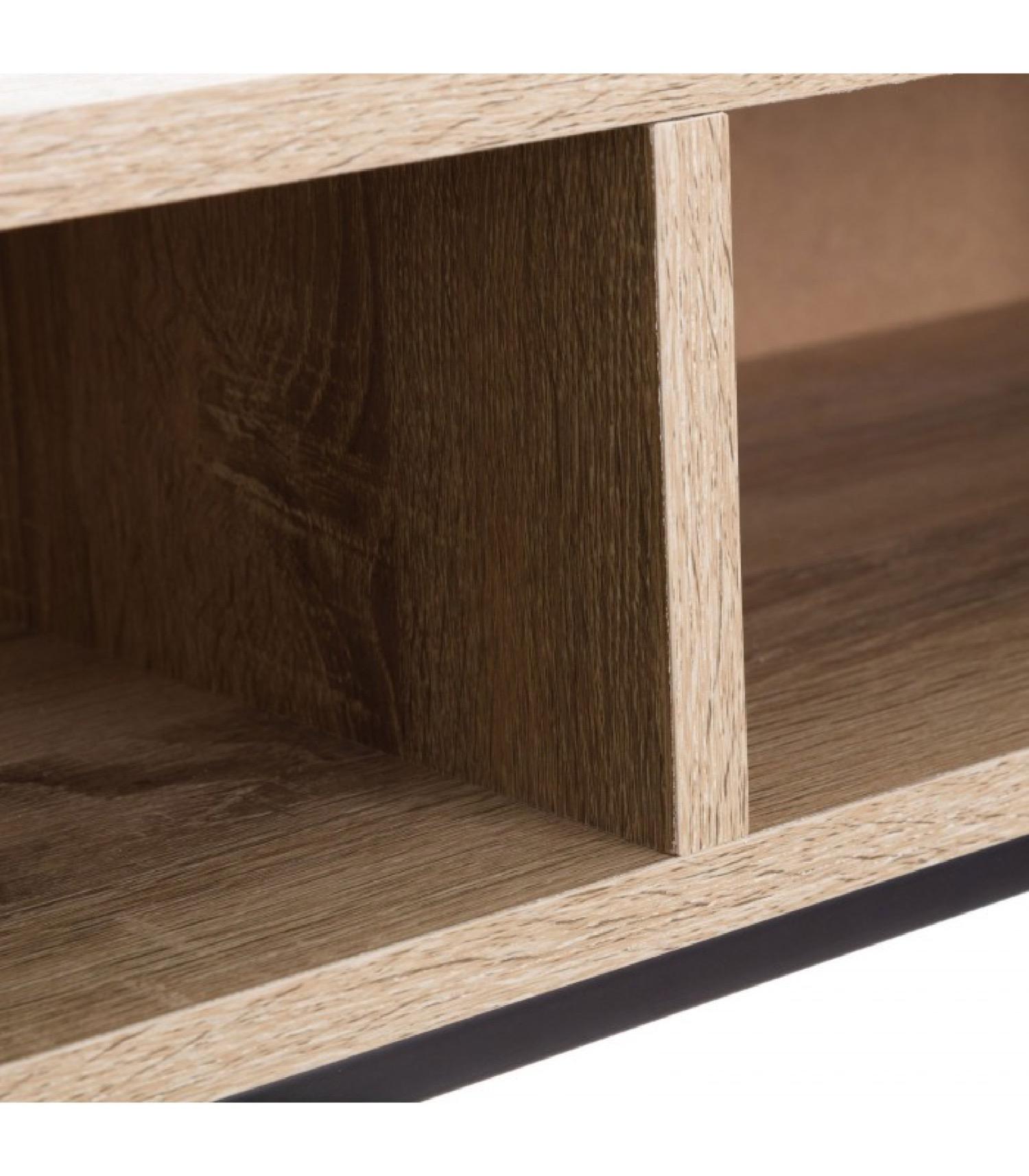 Console d'entrée en bois et métal noir à 2 casiers