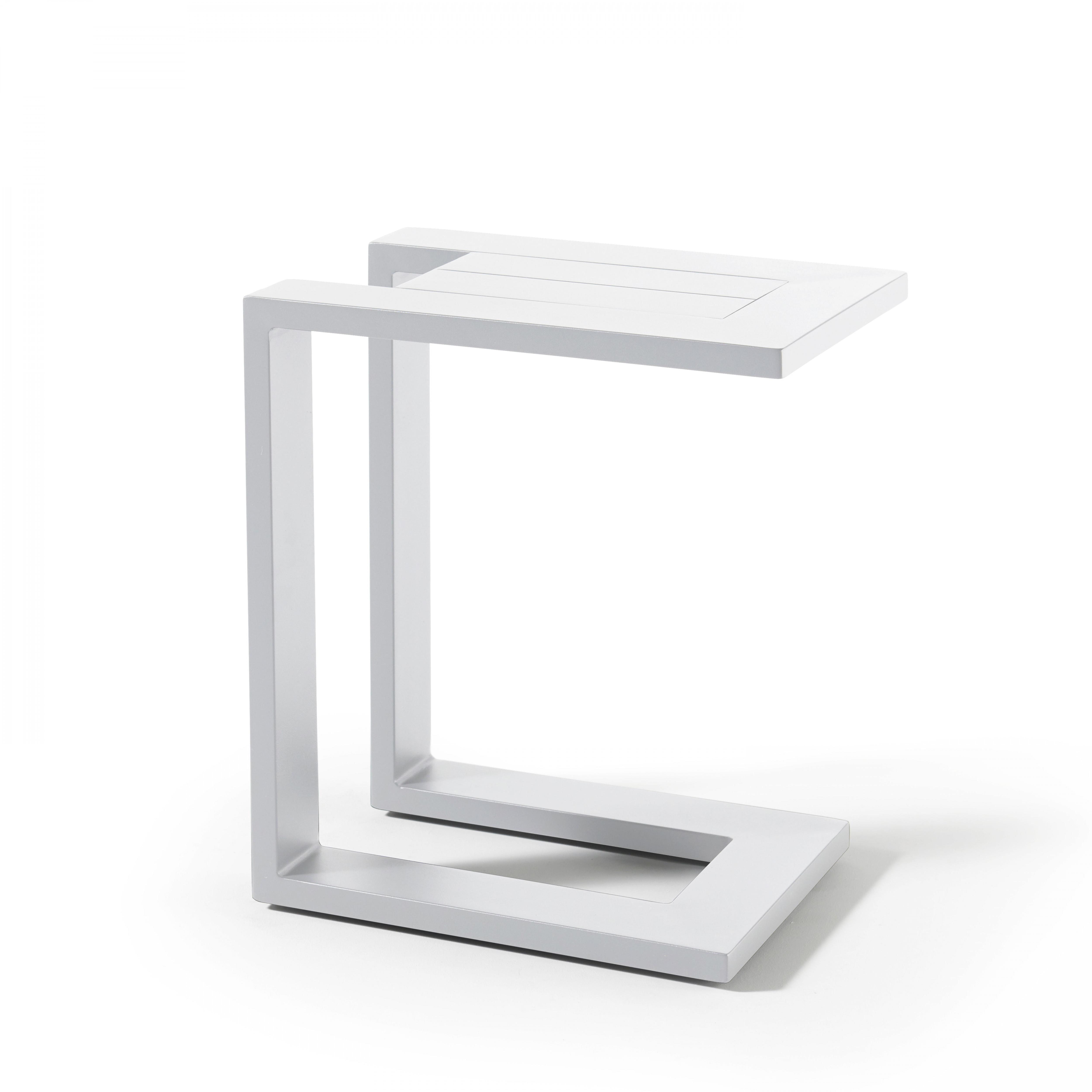 Tablette pour bain de soleil en aluminium blanc