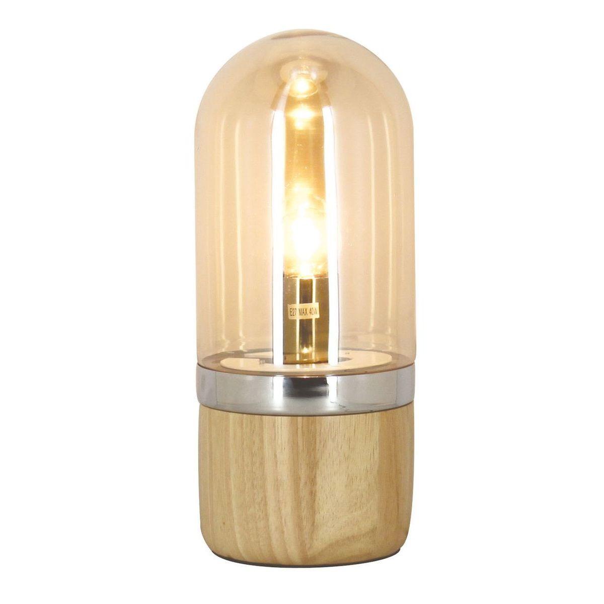 Lampe à poser en bois et verre H33