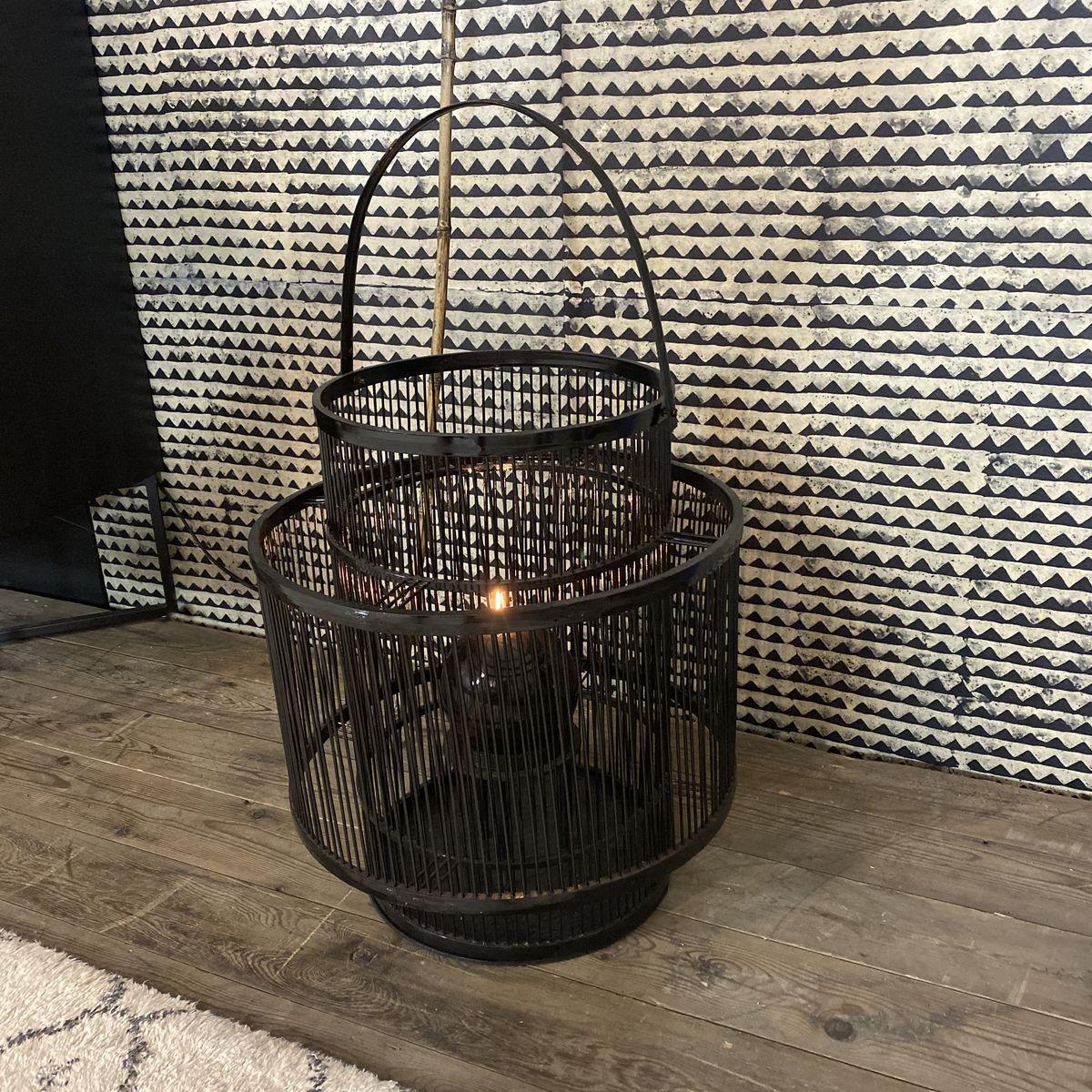Lanterne en bambou avec photophore en verre