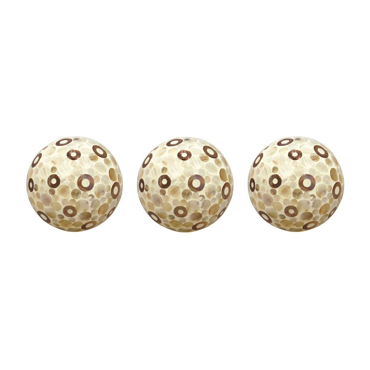 Set de 3 boules décoratives laquées en céramique beige