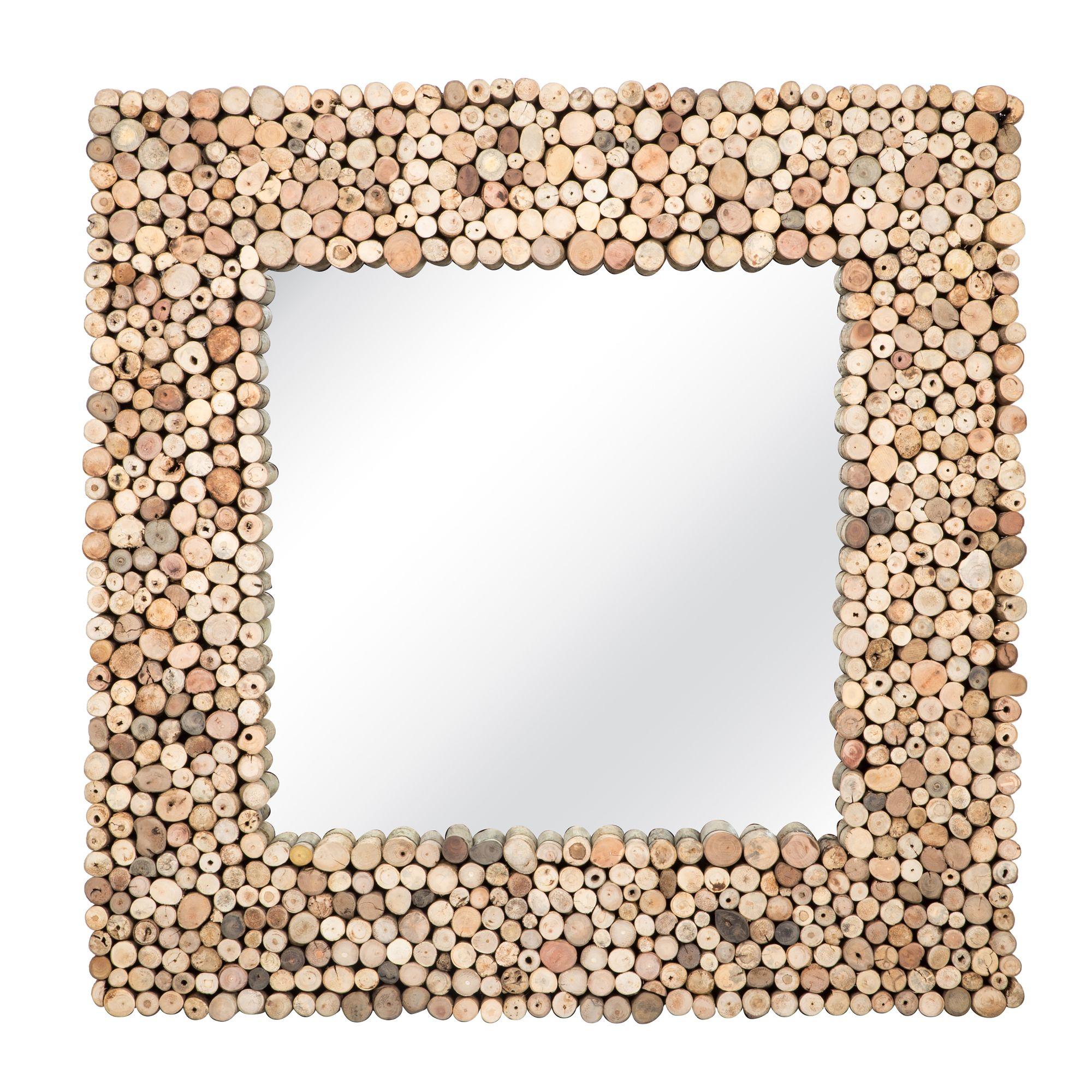 Miroir carré en bois flotté