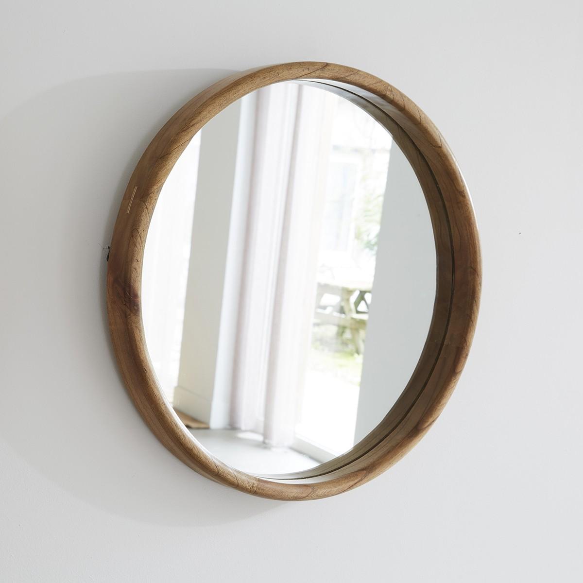 Miroir rond en bois de mindy D50