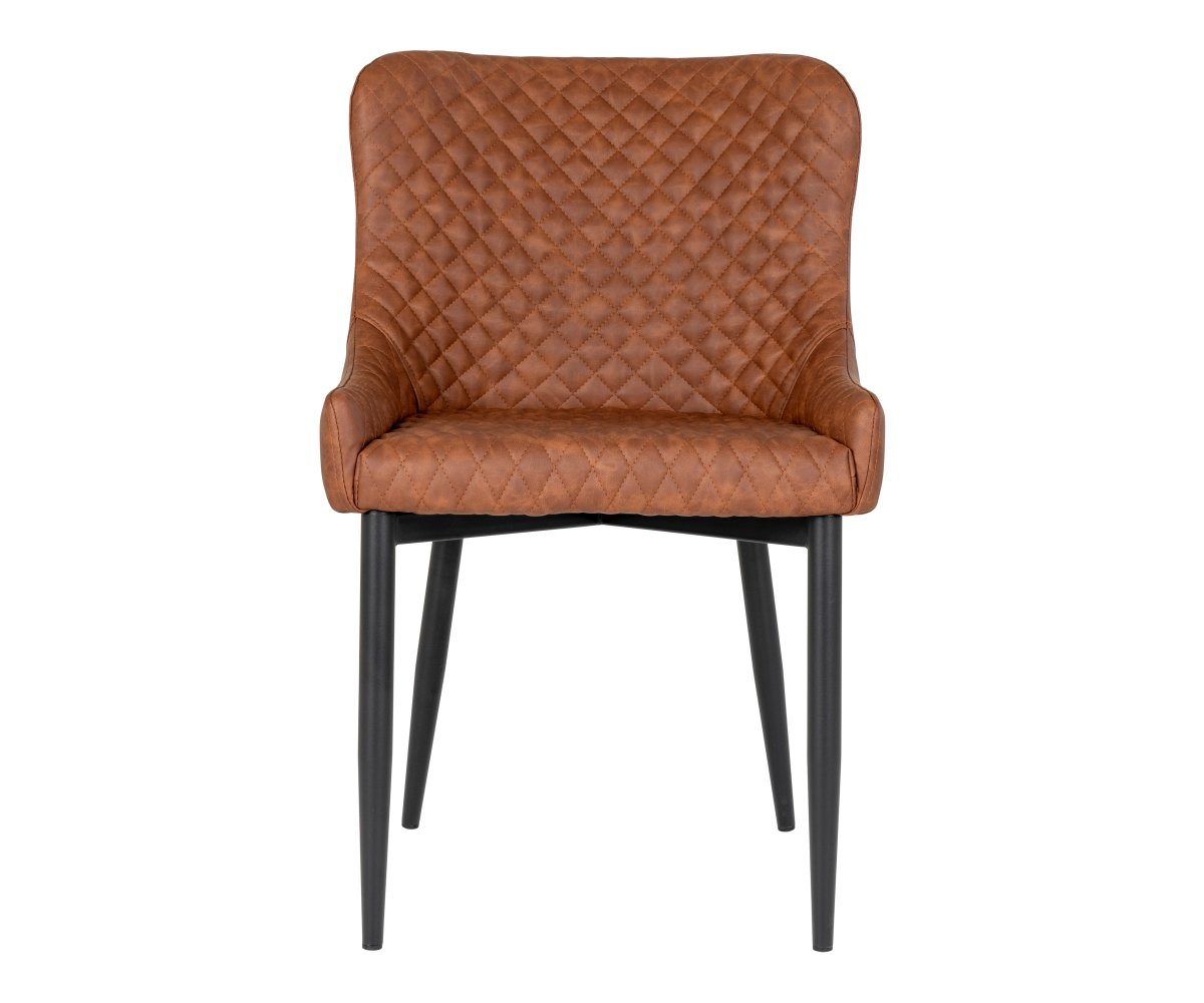 Chaise moderne en simili cuir avec accoudoirs Marron