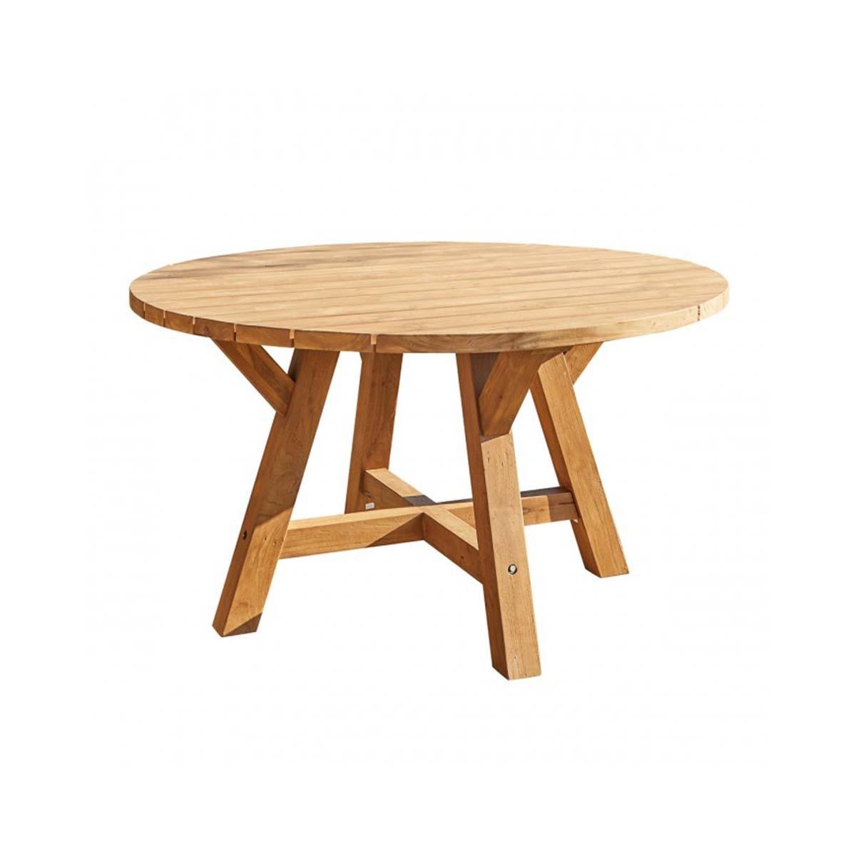 Table de jardin en teck recyclé ronde 6 personnes