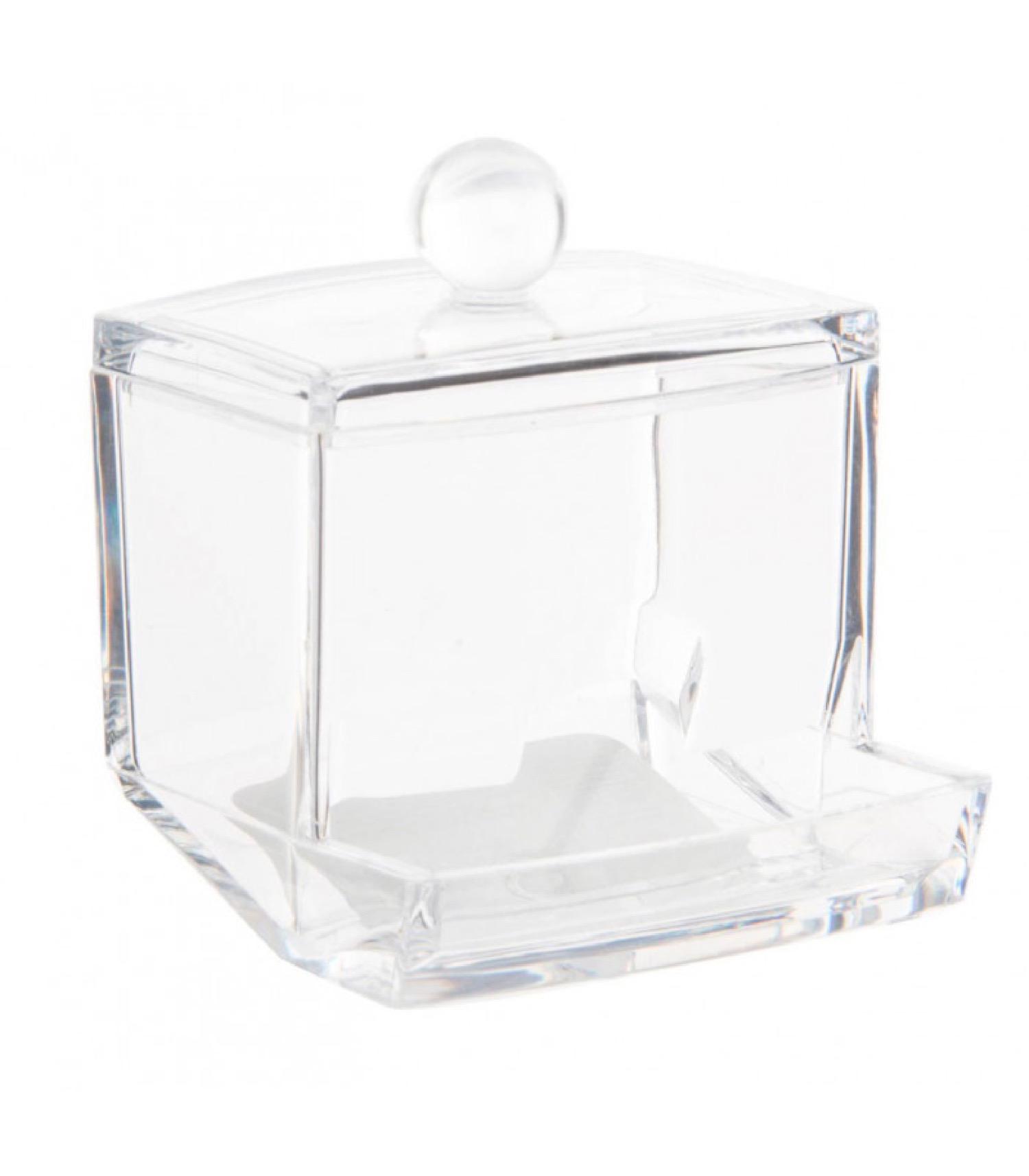 Distributeur de coton-tiges en acrylique transparent