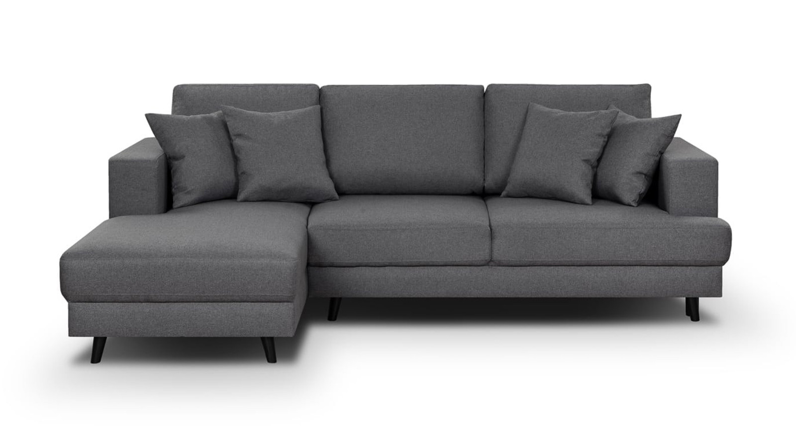 Canapé d'angle gauche convertible 4 places en tissu gris souris