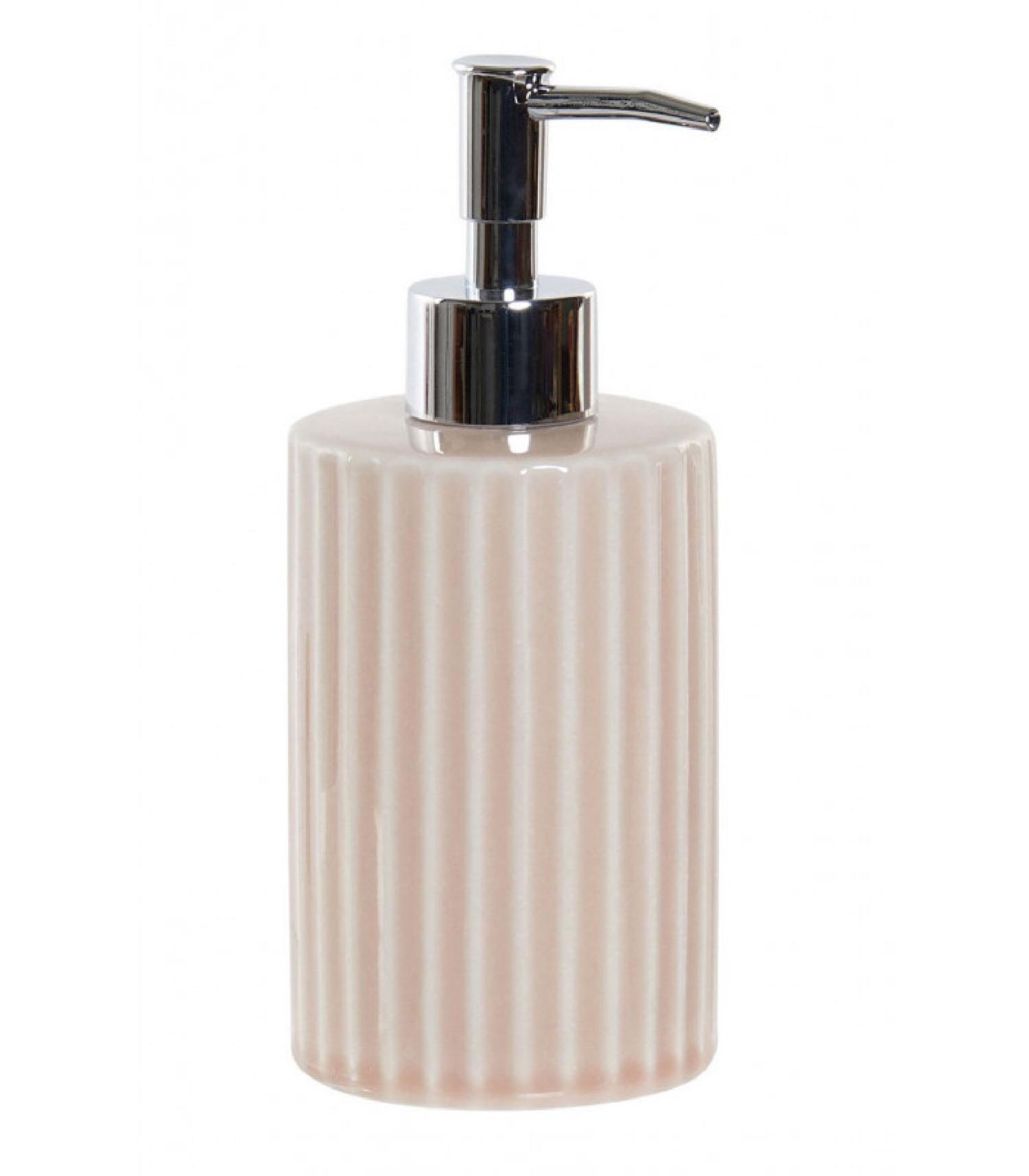 Distributeur de savon en céramique rose et ABS chromé