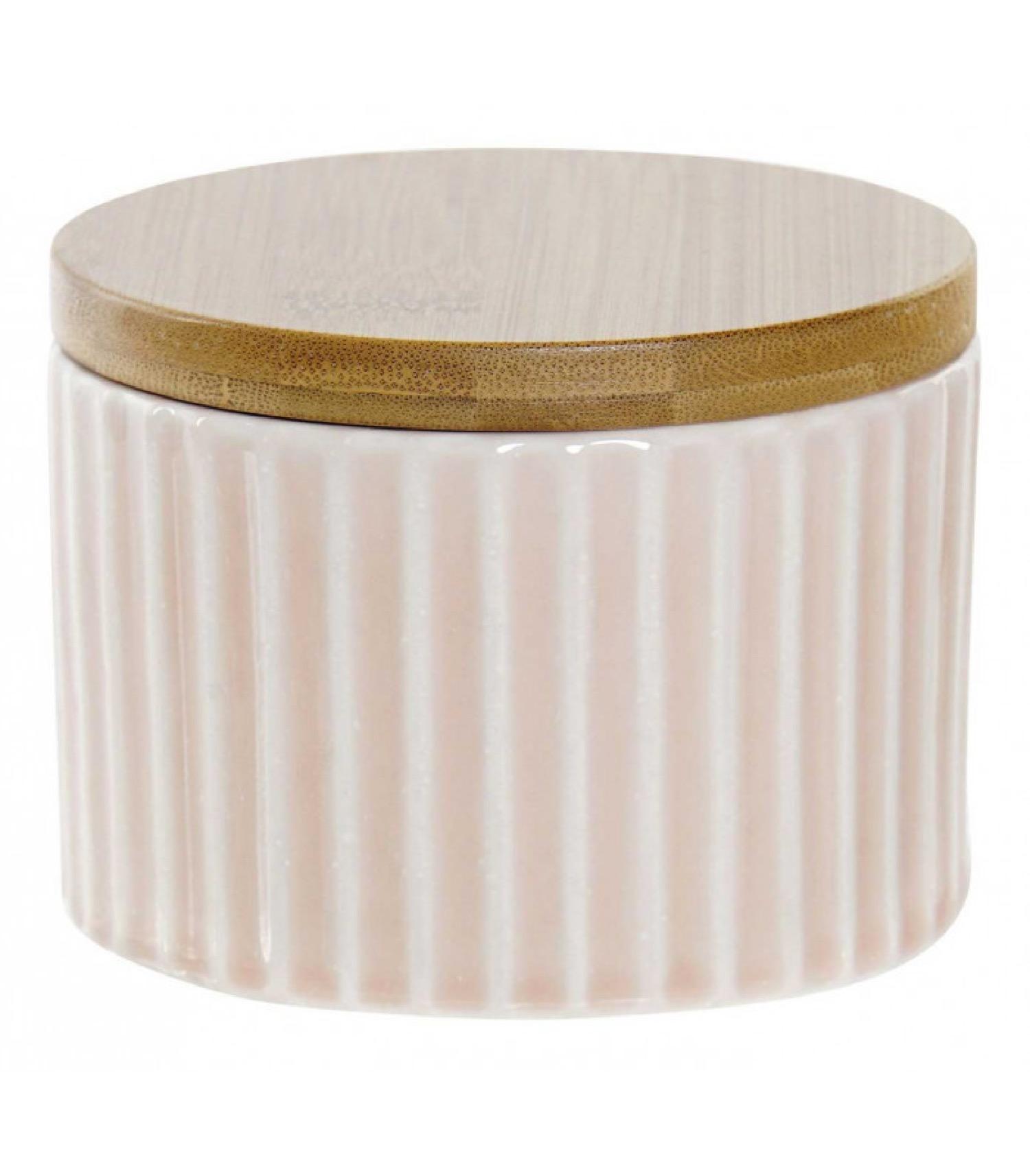 Boîte rangement coton salle de bain céramique rose et bambou
