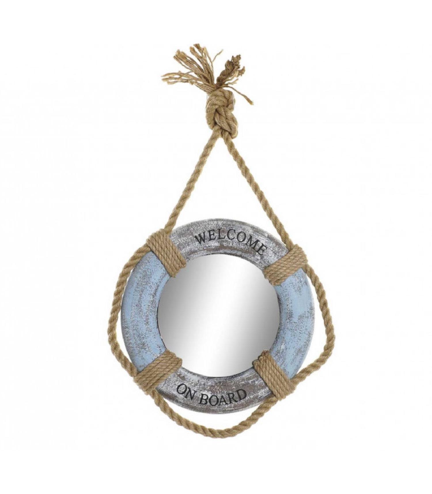 Miroir bleu rond suspendu bois et corde D41
