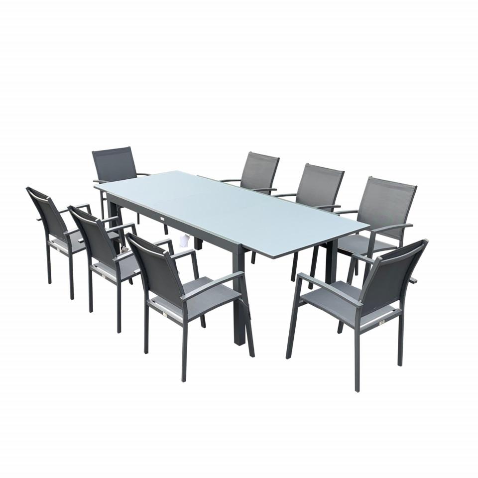Table de jardin 8 personnes en aluminium et en verre anthracite