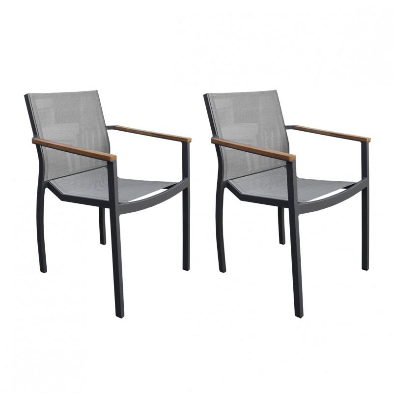 Lot de 2 chaises de jardin avec accoudoirs en teck et textilène
