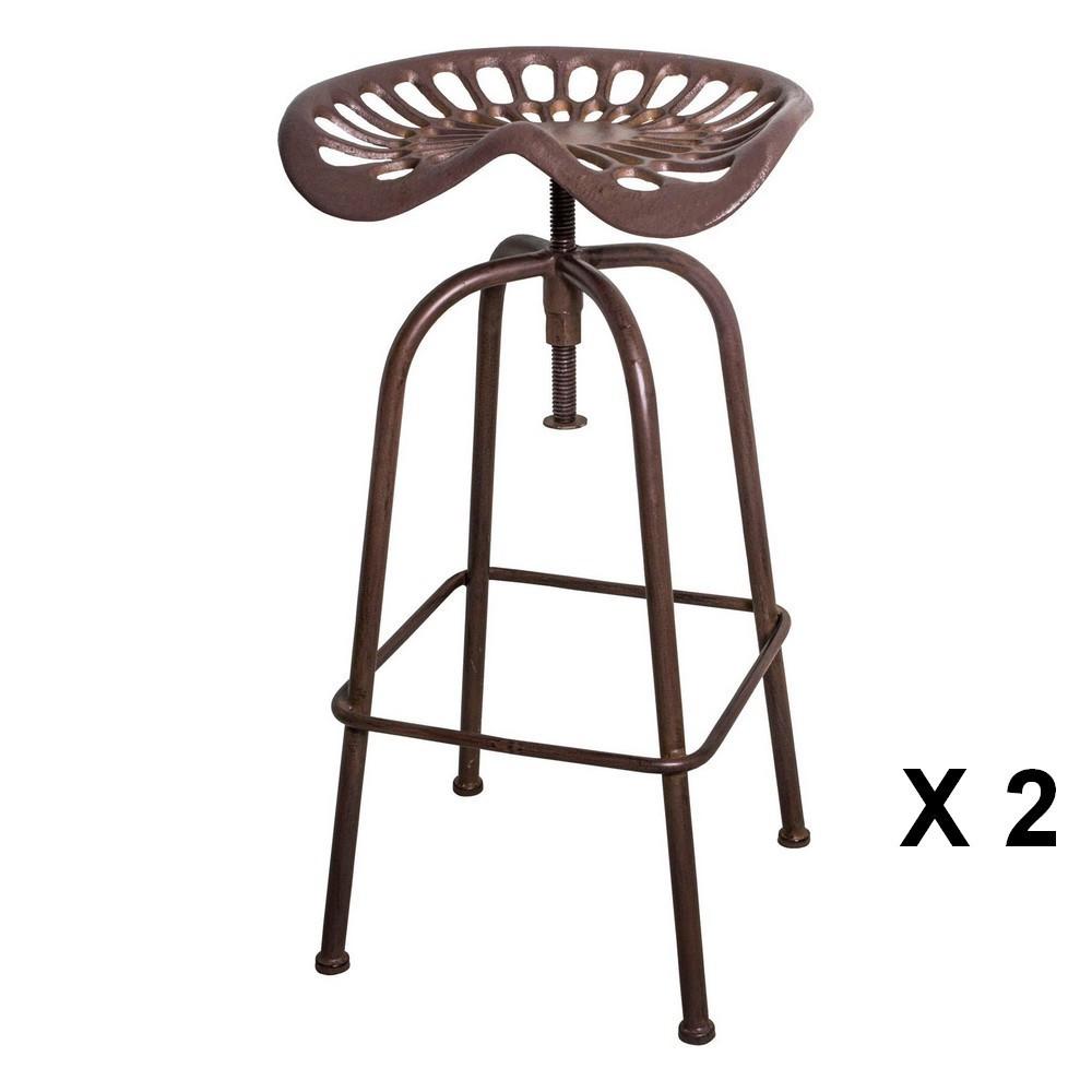 2 tabourets de bar rotatif en acier marron