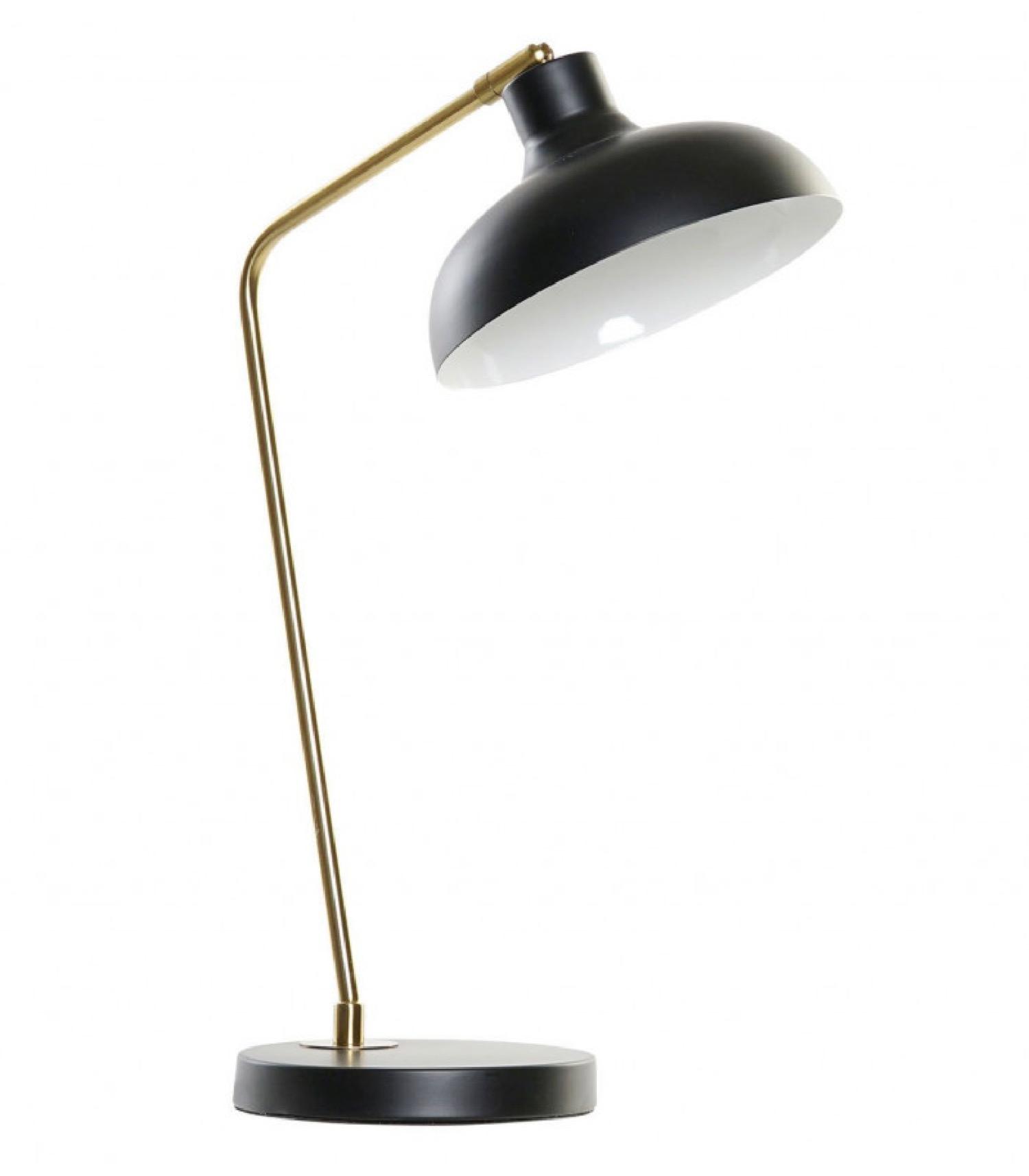 Lampe de bureau rétro métal noir et doré H52cm